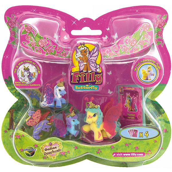 """Игровой набор Волшебная семья Alyssa, FillyКоллекционные и игровые фигурки<br>Большой игровой набор """"Волшебная семья"""" посвящен новым персонажам из мира лошадок Филли. Девочки придут в восторг от сразу четырех милых лошадок в одном наборе! Голову пони венчает мягкая корона, украшенная кристаллами Swarovski, за спиной у них - невероятные резные крылья с уникальным дизайном и изображением герба своего семейства. Яркие краски нанесены на крылышки тампонной печатью, поэтому, устойчивы к различному внешнему воздействию. Собери всех прекрасных лошадок и придумывай свои волшебные истории!<br><br>Дополнительная информация:<br><br>- Материал: пластик, флок.<br>- Размер лошадок: большая - 6 см (1 шт), маленькая: 3,5 см (3 шт).<br>- Комплектация: 4 лошадки, 4 карточки.<br><br>Игровой набор Волшебная семья Alyssa, Filly (Филли) можно купить в нашем магазине.<br>Ширина мм: 35; Глубина мм: 215; Высота мм: 205; Вес г: 127; Возраст от месяцев: 36; Возраст до месяцев: 84; Пол: Женский; Возраст: Детский; SKU: 4043625;"""