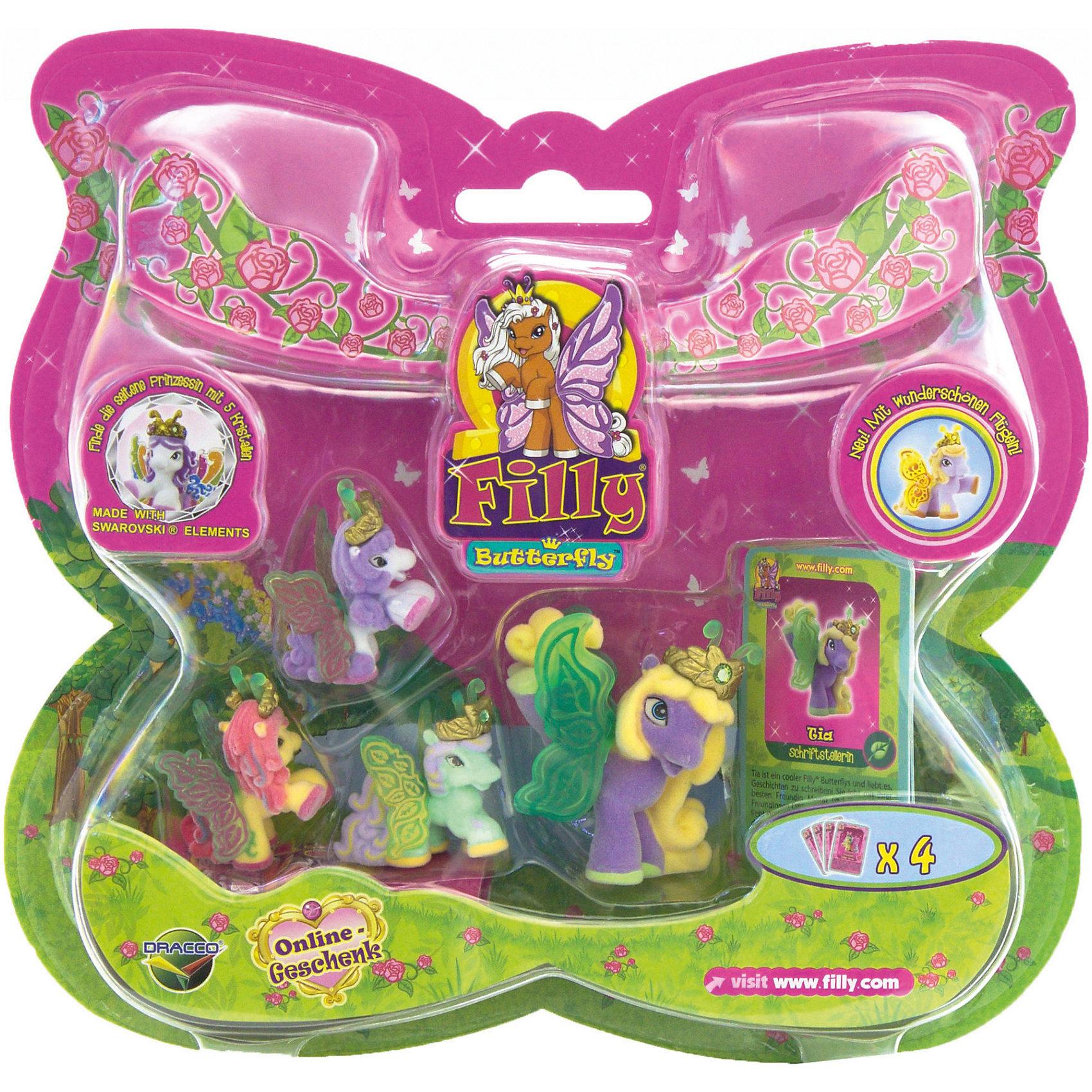 """Игровой набор Волшебная семья Tia, FillyКоллекционные и игровые фигурки<br>Большой игровой набор """"Волшебная семья"""" посвящен новым персонажам из мира лошадок Филли. Девочки придут в восторг от сразу четырех милых лошадок в одном наборе! Голову пони венчает мягкая корона, украшенная кристаллами Swarovski, за спиной у них - невероятные резные крылья с уникальным дизайном и изображением герба своего семейства. Яркие краски нанесены на крылышки тампонной печатью, поэтому, устойчивы к различному внешнему воздействию. Собери всех прекрасных лошадок и придумывай свои волшебные истории!<br><br>Дополнительная информация:<br><br>- Материал: пластик, флок.<br>- Размер лошадок: большая - 6 см (1 шт), маленькая: 3,5 см (3 шт).<br>- Комплектация: 4 лошадки, 4 карточки.<br><br>Игровой набор Волшебная семья Tia, Filly (Филли) можно купить в нашем магазине.<br><br>Ширина мм: 35<br>Глубина мм: 215<br>Высота мм: 205<br>Вес г: 127<br>Возраст от месяцев: 36<br>Возраст до месяцев: 84<br>Пол: Женский<br>Возраст: Детский<br>SKU: 4043633"""