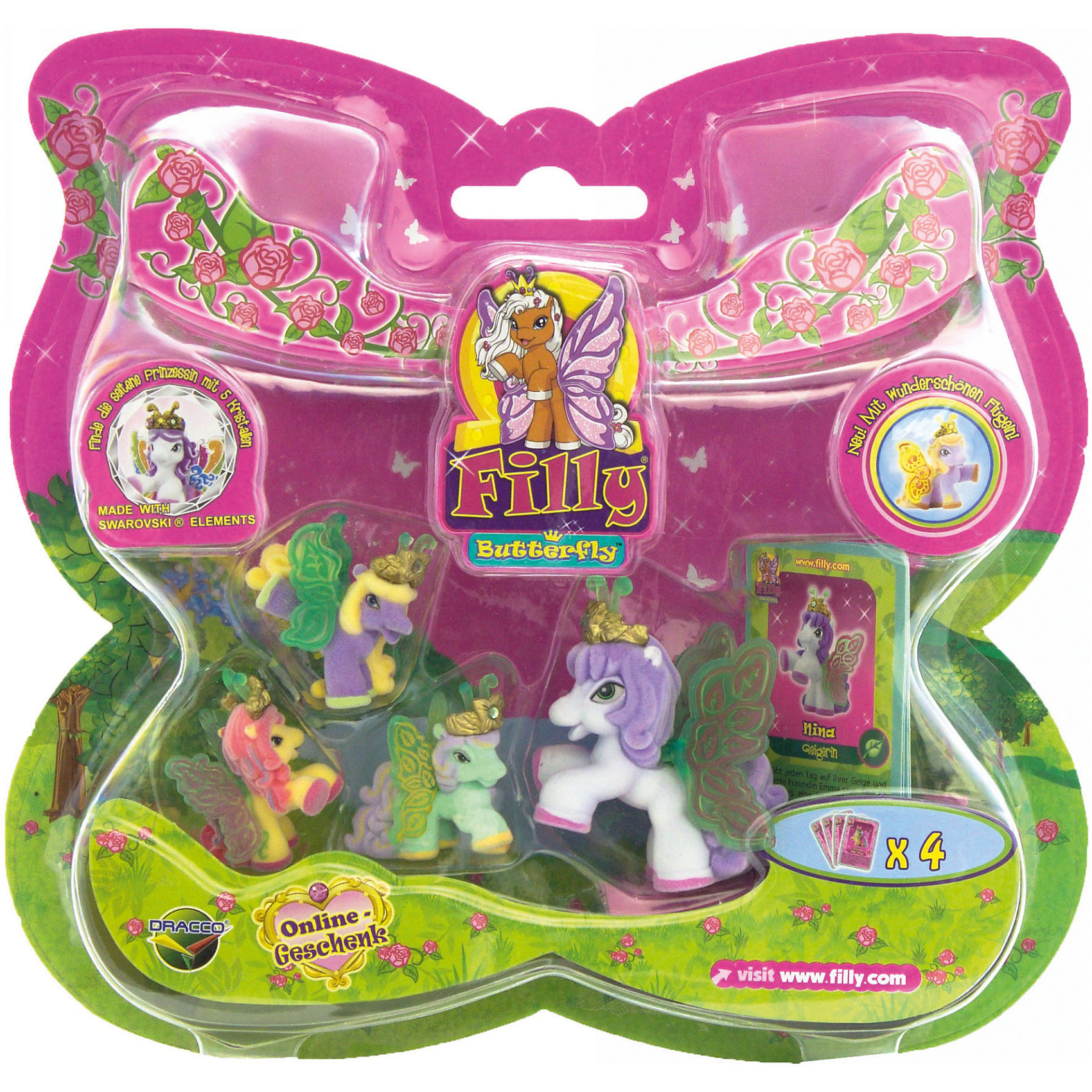 """Игровой набор Волшебная семья Nina, FillyКоллекционные и игровые фигурки<br>Большой игровой набор """"Волшебная семья"""" посвящен новым персонажам из мира лошадок Филли. Девочки придут в восторг от сразу четырех милых лошадок в одном наборе! Голову пони венчает мягкая корона, украшенная кристаллами Swarovski, за спиной у них - невероятные резные крылья с уникальным дизайном и изображением герба своего семейства. Яркие краски нанесены на крылышки тампонной печатью, поэтому, устойчивы к различному внешнему воздействию. Собери всех прекрасных лошадок и придумывай свои волшебные истории!<br><br>Дополнительная информация:<br><br>- Материал: пластик, флок.<br>- Размер лошадок: большая - 6 см (1 шт), маленькая: 3,5 см (3 шт).<br>- Комплектация: 4 лошадки, 4 карточки.<br><br>Игровой набор Волшебная семья Nina, Filly (Филли) можно купить в нашем магазине.<br><br>Ширина мм: 35<br>Глубина мм: 215<br>Высота мм: 205<br>Вес г: 127<br>Возраст от месяцев: 36<br>Возраст до месяцев: 84<br>Пол: Женский<br>Возраст: Детский<br>SKU: 4043635"""