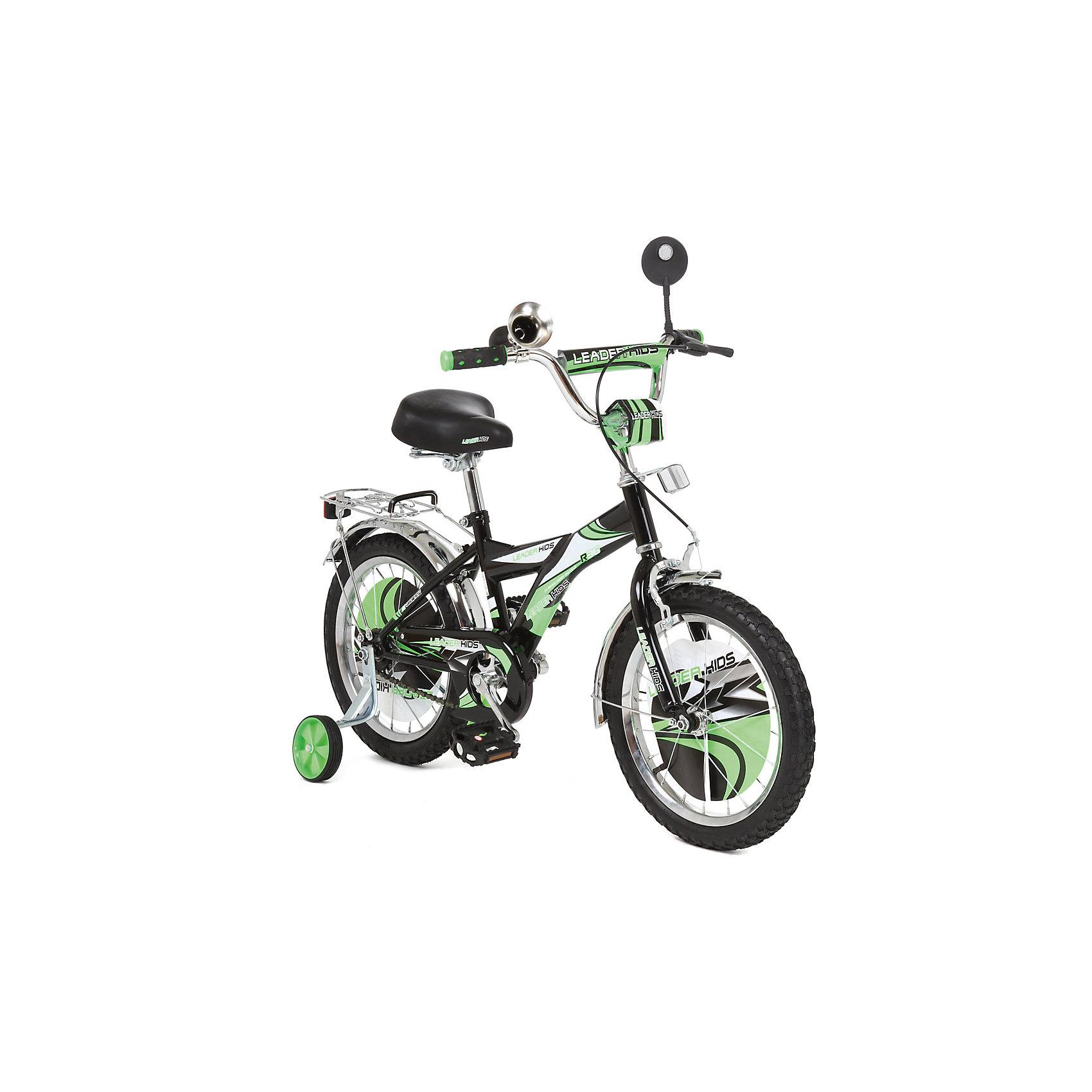 Велосипед двухколесный, черно-зеленый, Leader kids