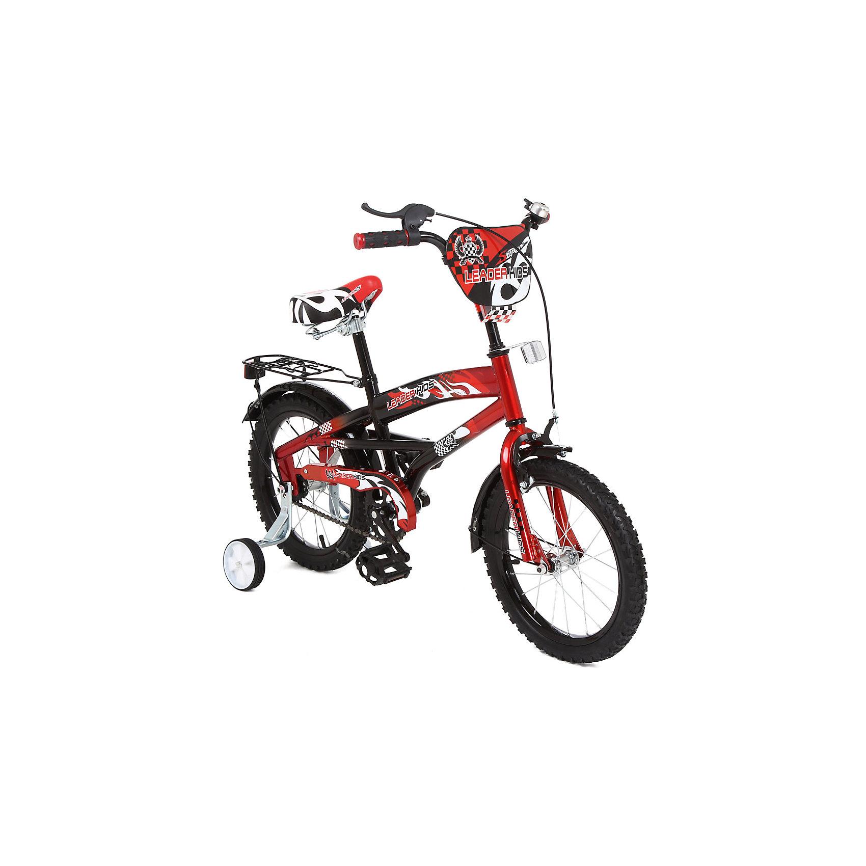 Велосипед двухколесный, черно-красный, Leader kids