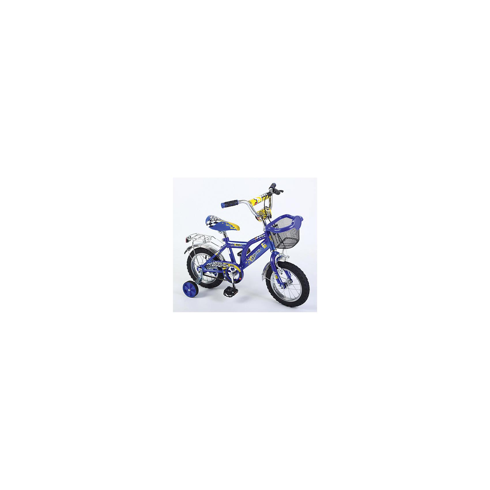 Велосипед двухколесный, синий, с багажником, Leader kids