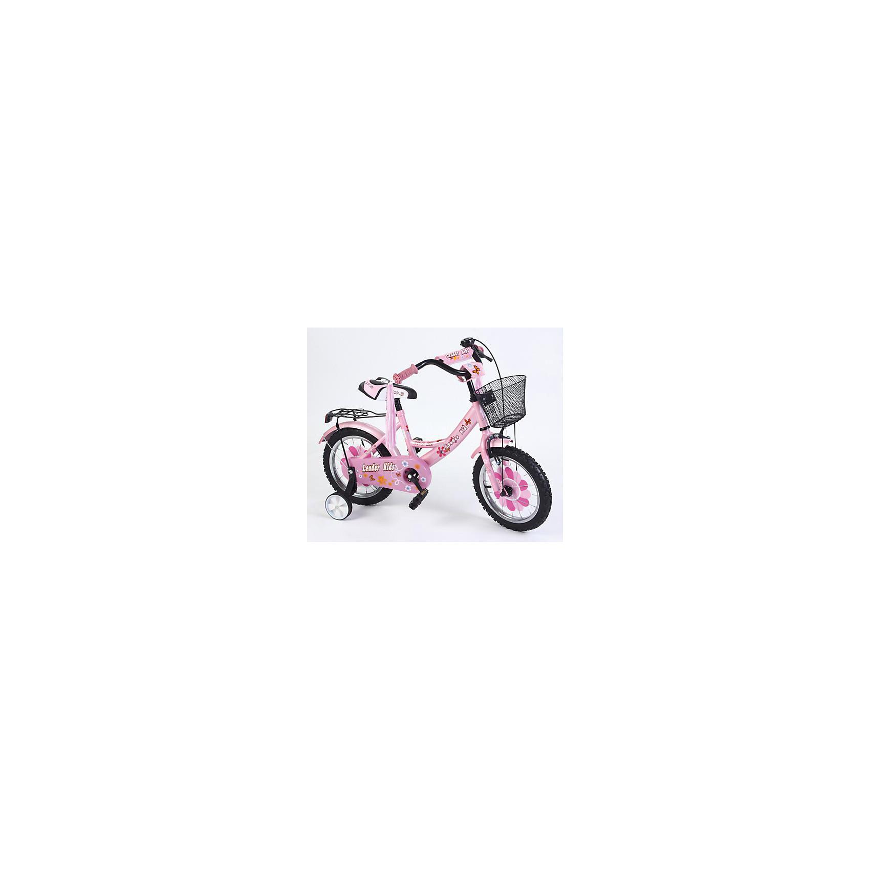 Велосипед двухколесный, розовый, с багажником, Leader kids