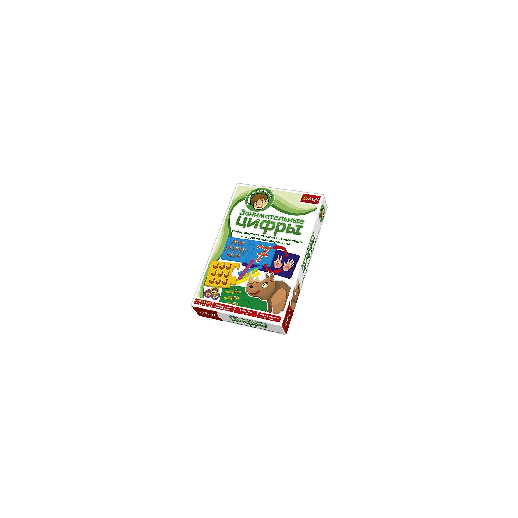 Игра Занимательные Цифры,  TreflПособия для обучения счёту<br>Игра Занимательные Цифры, Trefl - увлекательная развивающая игра, которая познакомит Вашего малыша с цифрами и основами арифметики, научит простейшим вычислениям. Данная игра входит в серию Первые открытия, в разработке которой принимал участие коллектив педагогов, филологов, логопедов, социологов и психологов и предназначенную для формирования у ребенка навыков, необходимых ему перед школой. В игре могут участвовать от 1 до 4 игроков. В наборе Вы найдете 10 двойных двусторонних карточек-пазлов, на одной части которых изображена цифра, а на другой картинка. В инструкции представлено 8 различных вариантов игры, от самых простых до самых сложных. Например, в игре Найди равенство маленьким игрокам предстоит соотнести цифру, изображенную на одной части карточки, с правильным количеством животных, нарисованных на другой части пазла. Участник, который первым нашел нужную половинку, получает карточку. Тот кто соберет больше всех карточек становится победителем. <br><br>Дополнительная информация:<br><br>- Серия: Первые открытия.<br>- В комплекте: 10 двойных двусторонних карточек-пазлов, цветные элементы для счета, инструкция к игре.<br>- Материал: бумага, картон.<br>- Размер упаковки: 28,8 х 19,3 х 4,1 см.<br>- Вес: 0,42 кг.<br><br>Игра Занимательные Цифры, Trefl, можно купить в нашем интернет-магазине.<br><br>Ширина мм: 288<br>Глубина мм: 193<br>Высота мм: 193<br>Вес г: 420<br>Возраст от месяцев: 36<br>Возраст до месяцев: 60<br>Пол: Унисекс<br>Возраст: Детский<br>SKU: 4043685