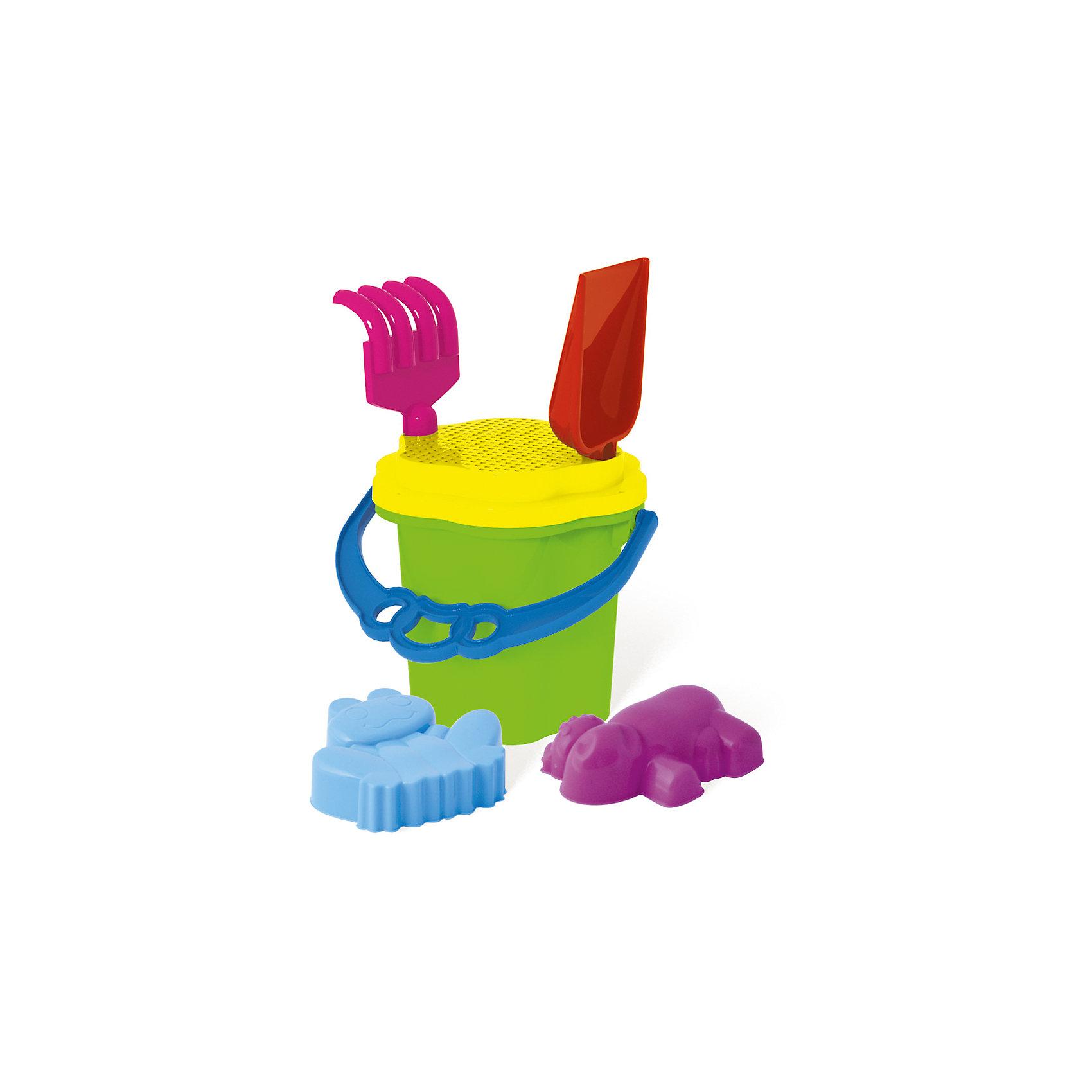 Набор Ведро-цветок №105, СтелларИграем в песочнице<br>Этот яркий набор обязательно заинтересует ребенка. Он включает в себя все, что нужно для игр с песком и водой. Ведро имеет крышку-сито с прорезями, в которую удобно вставляются грабли и совок. Все детали набора компактно помещаются в небольшом ведерке, так что малыш может носить свои игрушки самостоятельно. Прекрасный набор для пляжного отдыха или игр в песочнице. Игрушка выполнена из высококачественного пластика, не имеет острых углов, безопасна для детей. <br><br>Дополнительная информация:<br><br>- Материал: пластик.<br>- Цвет: зеленый, желтый, голубой, розовый. <br>- Комплектация: ведро, сито, грабли, совок, формочки ( 2 шт.).<br>- Размер: ведро 0,7 л, грабли - 20см, совок - 21 см.<br><br>Набор Ведро-цветок №105, Стеллар, можно купить в нашем магазине.<br><br>Ширина мм: 100<br>Глубина мм: 100<br>Высота мм: 160<br>Вес г: 145<br>Возраст от месяцев: 36<br>Возраст до месяцев: 72<br>Пол: Унисекс<br>Возраст: Детский<br>SKU: 4044371