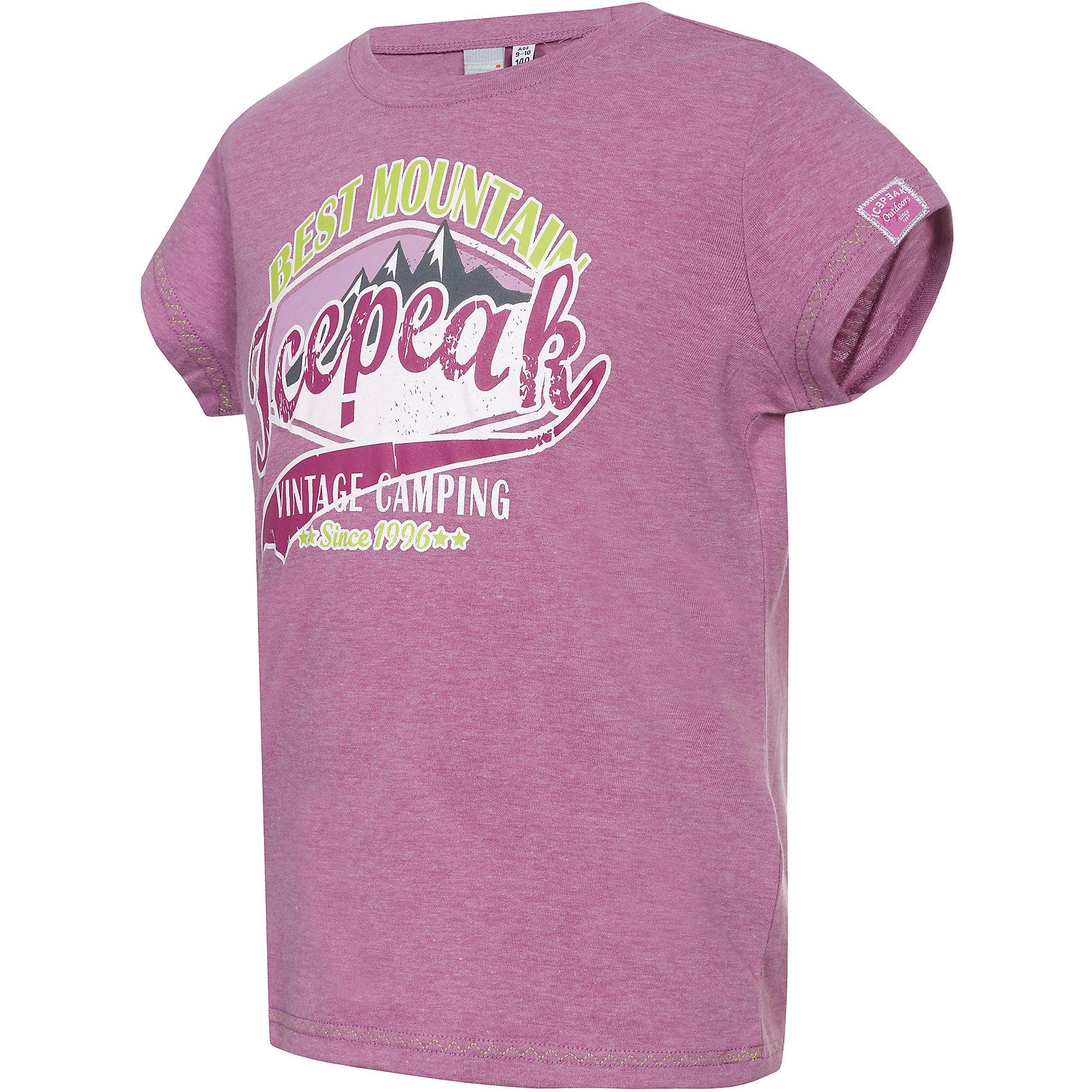 Футболка для девочки ICEPEAKОдежда<br>Хлопковая футболка с ярким декоративным принтом и логотипом Icepeak.  <br><br>Состав: 65% полиэстер, 35% хлопок<br><br>Ширина мм: 199<br>Глубина мм: 10<br>Высота мм: 161<br>Вес г: 151<br>Цвет: розовый<br>Возраст от месяцев: 132<br>Возраст до месяцев: 144<br>Пол: Женский<br>Возраст: Детский<br>Размер: 152,128,164,140,116<br>SKU: 4046109