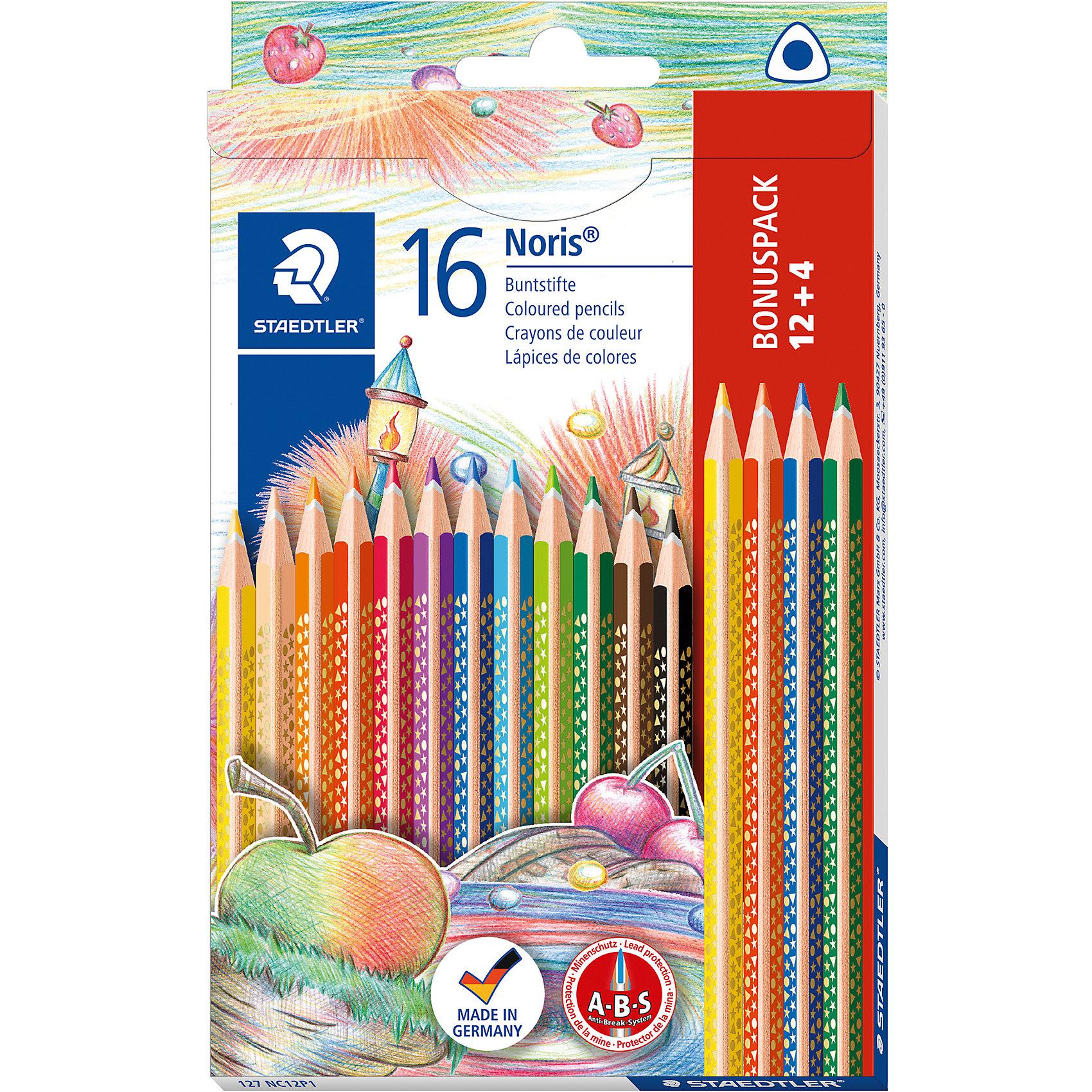 Набор цветных карандашей Noris Club трехгранные, 12 цветов, 16 шт.Рисование<br>Набор цветных карандашей Noris Club® 127 серии. Промоупаковка 16 шт., 12 + 4 - бесплатно (127-1,2,3,5). Эргономичная трехгранная форма для удобного и легкого письма. A-B-S - белое защитное покрытие для укрепления грифеля и для защиты от поломки. Привлекательный дизайн звезды с полем для имени. Очень мягкий и яркий грифель. При производстве используется древесина сертифицированных и специально подготовленных лесов.<br><br>Ширина мм: 195<br>Глубина мм: 116<br>Высота мм: 13<br>Вес г: 89<br>Возраст от месяцев: 60<br>Возраст до месяцев: 120<br>Пол: Унисекс<br>Возраст: Детский<br>SKU: 4046421