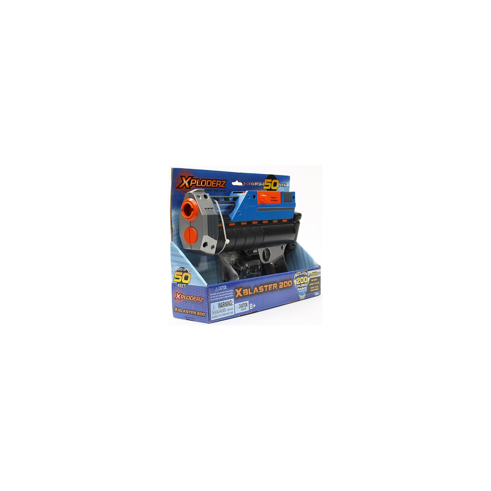 Бластер X 200, XPLODERZАмериканская компания Maya Group представляет вашему вниманию инновационное и  уникальное оружие для детей - Бластер X 200, XPLODERZ. С ним ваш ребенок сможет представить себя настоящим воином и будет чувствовать себя уверенно в любой игре. Бластер выполнен из разноцветного прочного пластика, может стрелять на расстояние до 15 метров. Набор включает в себя как пульки, так и заготовки для снарядов. Поместите маленькие и твердые заготовки для зарядов в обойму или магазин. С добавлением воды они увеличатся в размере и станут упругими. Заряды для бластера представляют собой небольшие гелевые шарики, состоящие из воды и полимера. При попадании  в какую-либо поверхность пульки отскакивают от нее или же рассыпаются на частички, не повреждая и не пачкая. Игра с бластером не только интересная и захватывающая, она тренирует меткость, ловкость и координацию; дети придумывают различные сюжетные игры, что помогает в формировании воображения, стимулирует ребенка к физической активности. <br><br>Дополнительная информация:<br><br>- Материал: пластик, полимер<br>- Размер обоймы: 7х7х3,5 см.<br>- Размер бластера: 30х19х4 см. <br>- Дальность стрельбы: 15 м.<br>- Перезаряжается автоматически.<br>- Комплектация: бластер, обойма, 75 пулек, 200 заготовок, инструкция.<br><br>Бластер X 200, XPLODERZ можно купить в нашем магазине.<br><br>Ширина мм: 310<br>Глубина мм: 75<br>Высота мм: 325<br>Вес г: 500<br>Возраст от месяцев: 96<br>Возраст до месяцев: 168<br>Пол: Мужской<br>Возраст: Детский<br>SKU: 4046590