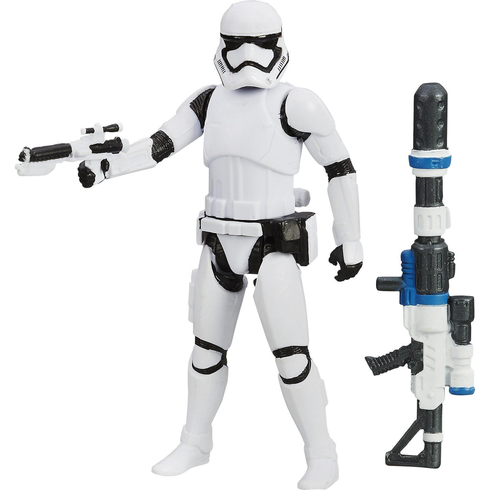 Звездные войны Эпизод 7 фигурка штурмовика  9,5 смКоллекционные и игровые фигурки<br>Фигурка штурмовика, Звездные войны (Star Wars). Эпизод 7, станет приятным сюрпризом для Вашего ребенка, особенно если он является поклонником популярной фантастической киносаги Star Wars. Фигурка выполнена с высокой степенью детализации и реалистичности и очень похожа на своего экранного прототипа. Вооруженные мощным оружием и блестящей броней, Штурмовики - основа могущества Первого Порядка. У фигурки подвижные части тела, что позволяет придать ей разные позы. В комплект также входит оружие штурмовика - бластер и деталь уникального оружия, которое может получиться, если объединить ее с деталями из комплектов с Рэем (Баз Старкиллер) и Дартом Вейдером (продаются отдельно). Для всех поклонников Звездных войн фигурки данной серии составят замечательную коллекцию и дополнят игры новыми персонажами.<br><br>Дополнительная информация:<br><br>- В комплекте: фигурка, 2 оружия.<br>- Материал: пластик.<br>- Высота фигурки: 9,5 см.<br>- Размер упаковки: 21 х 3,7 х 14 см.<br>- Вес: 0,12 кг. <br><br>Фигурку штурмовика, Звездные войны (Star Wars) Эпизод 7, Hasbro, можно купить в нашем интернет-магазине.<br><br>Ширина мм: 212<br>Глубина мм: 142<br>Высота мм: 32<br>Вес г: 68<br>Возраст от месяцев: 48<br>Возраст до месяцев: 96<br>Пол: Мужской<br>Возраст: Детский<br>SKU: 4046733