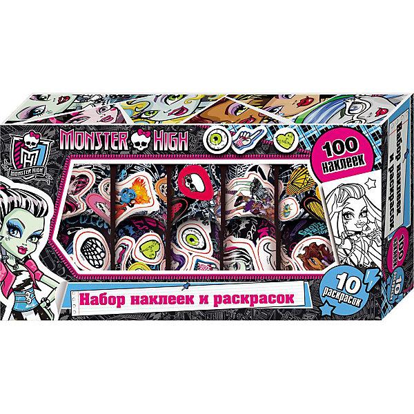 Набор наклеек и раскрасок в коробке, Monster HighКнижки с наклейками<br>Набор наклеек и раскрасок в коробке, Monster High, станет приятным сюрпризом для юных поклонниц популярного мультсериала Школа Монстров. В комплект входят 100 рулонных наклеек и 10 листов раскрасок с изображениями очаровательных девчонок-монстров. Красочными наклейками можно украсить свои вещи и канцелярские принадлежности или изготовить с их помощью красивые открытки. Комплект упакован в яркую стильную коробочку с прозрачным окошком.<br><br>Дополнительная информация:<br><br>- Материал: бумага.<br>- Размер: 24,5 х 13 х 4 см.<br>- Вес: 172 гр.<br><br>Набор наклеек и раскрасок в коробке, Monster High, можно купить в нашем интернет-магазине.<br>Ширина мм: 245; Глубина мм: 130; Высота мм: 40; Вес г: 172; Возраст от месяцев: 60; Возраст до месяцев: 144; Пол: Женский; Возраст: Детский; SKU: 4046769;
