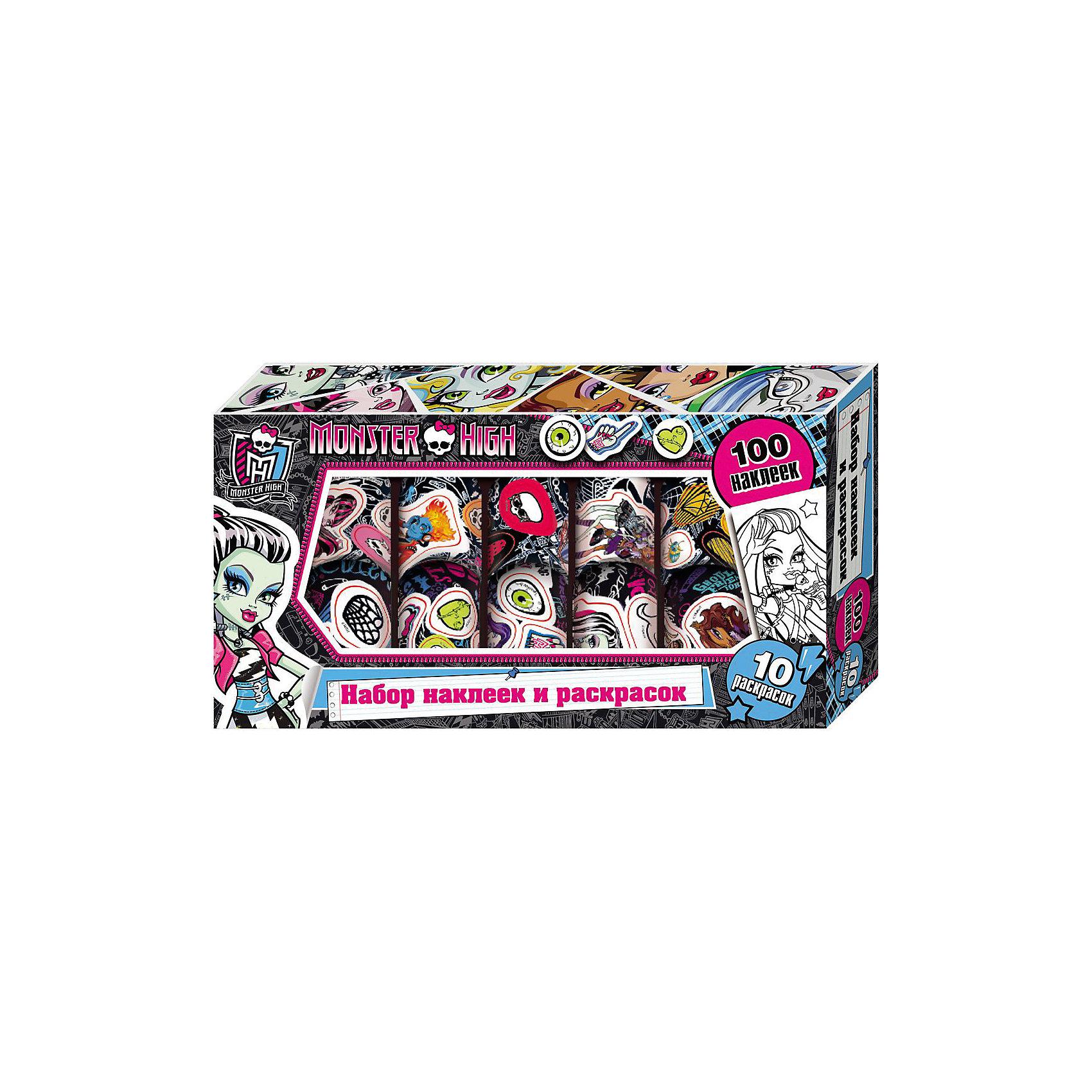 Набор наклеек и раскрасок в коробке, Monster HighНабор наклеек и раскрасок в коробке, Monster High, станет приятным сюрпризом для юных поклонниц популярного мультсериала Школа Монстров. В комплект входят 100 рулонных наклеек и 10 листов раскрасок с изображениями очаровательных девчонок-монстров. Красочными наклейками можно украсить свои вещи и канцелярские принадлежности или изготовить с их помощью красивые открытки. Комплект упакован в яркую стильную коробочку с прозрачным окошком.<br><br>Дополнительная информация:<br><br>- Материал: бумага.<br>- Размер: 24,5 х 13 х 4 см.<br>- Вес: 172 гр.<br><br>Набор наклеек и раскрасок в коробке, Monster High, можно купить в нашем интернет-магазине.<br><br>Ширина мм: 245<br>Глубина мм: 130<br>Высота мм: 40<br>Вес г: 172<br>Возраст от месяцев: 60<br>Возраст до месяцев: 144<br>Пол: Женский<br>Возраст: Детский<br>SKU: 4046769