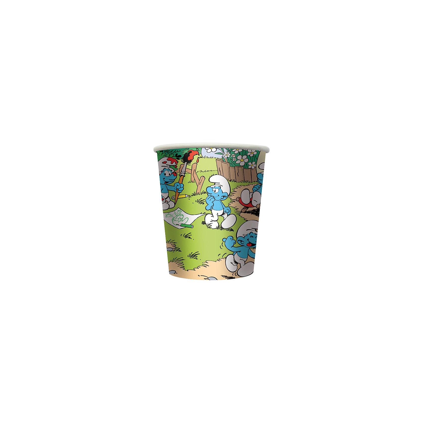 Стакан бумажный Приключения смурфиков (10 шт)Набор бумажных стаканов Приключения смурфиков замечательно подойдет для детского праздника и сделает его ярче и веселее. Комплект включает в себя 10 красочных стаканов, которые выполнены по мотивам популярного мультсериала Смурфики и украшены изображениями его персонажей - забавных волшебных человечков. Благодаря специальному покрытию стаканы отлично удерживают напитки, не промокают, не протекают и надолго сохраняют опрятный внешний вид. <br><br>Дополнительная информация:<br><br>- В комплекте: 10 стаканов.<br>- Материал: картон.<br>- Объем стакана: 210 мл.<br>- Размер упаковки: 7,2 х 7,2 х 12 см.<br>- Вес: 56 гр.<br><br>Стакан бумажный Приключения смурфиков, 10 шт., можно купить в нашем интернет-магазине.<br><br>Ширина мм: 72<br>Глубина мм: 72<br>Высота мм: 120<br>Вес г: 560<br>Возраст от месяцев: 36<br>Возраст до месяцев: 108<br>Пол: Унисекс<br>Возраст: Детский<br>SKU: 4046804