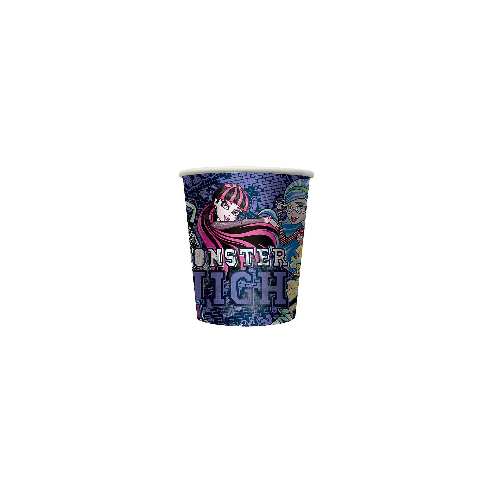 Стакан бумажный Граффити. Monster High (10 шт)Бумажные стаканы Граффити. Monster High замечательно подойдут для детского праздника и сделают его ярче и веселее. Комплект включает в себя 10 красочных стаканов, которые выполнены по мотивам популярного мультсериала Школа монстров (Monster High) и украшены изображениями его героинь. Благодаря специальному покрытию стаканы отлично удерживают напитки, не промокают, не протекают и надолго сохраняют опрятный внешний вид. <br><br>Дополнительная информация:<br><br>- В комплекте: 10 стаканов.<br>- Материал: картон.<br>- Объем стакана: 210 мл.<br>- Размер упаковки: 7,2 х 7,2 х 12 см.<br>- Вес: 56 гр.<br><br>Стакан бумажный Граффити. Monster High (Монстр Хай), 10 шт., можно купить в нашем интернет-магазине.<br><br>Ширина мм: 72<br>Глубина мм: 72<br>Высота мм: 120<br>Вес г: 560<br>Возраст от месяцев: 36<br>Возраст до месяцев: 108<br>Пол: Женский<br>Возраст: Детский<br>SKU: 4046805
