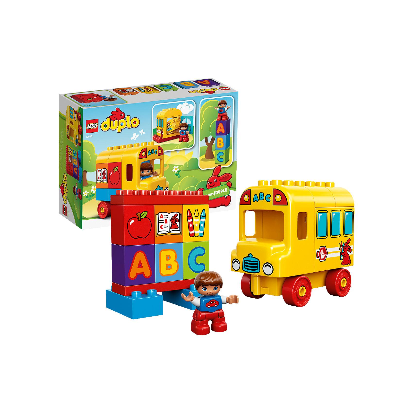 LEGO DUPLO 10603: Мой первый автобусЗамечательная новинка от LEGO DUPLO (ЛЕГО Дупло) 10603: Мой первый автобус! В одном конструкторе собраны два любимых детских занятия: игры с кубиками и машинками. Яркий и легкий в сборке автобус даст малышу большой простор для фантазии: можно загрузить кубики через заднюю дверцу, а можно построить из них школьную доску с буквами и картинками. Минифигурка легко помещается в кабину автобуса. Более увлекательного набора для развития ребенка просто не найти. Строя грузовик, доску, пирамиду из кубиков и просто соединяя детали между собой, ребёнок в увлекательной игровой форме тренирует мелкую моторику и координацию. Создайте милые и увлекательные сюжеты с набором LEGO DUPLO (ЛЕГО Дупло) 10603: Мой первый автобус или объедините его с другими наборами серии и игра станет еще увлекательнее!  <br><br>Конструкторы LEGO DUPLO (ЛЕГО ДУПЛО) созданы специально для детей дошкольного возраста. Они сочетают увлекательную игру и обучение, а также развивают мелкую моторику, пространственное мышление и творческие способности малышей. Кубики LEGO DUPLO (ЛЕГО ДУПЛО) в 8 раз больше, чем обычные, что позволяет ребенку удобно держать их ручками и быстро строить. Большое количество дополнительных элементов делает игровые сюжеты по-настоящему захватывающими и реалистичными. Все наборы LEGO DUPLO (ЛЕГО ДУПЛО) соответствуют самым высоким европейским стандартам качества и абсолютно безопасны. <br><br>Дополнительная информация:<br><br>- Конструкторы LEGO (ЛЕГО) отлично развивают моторику, мышление и фантазию Вашего ребенка;<br>- В комплекте: минифигурка мальчика, детали набора;<br>- Количество деталей: 17 шт;<br>- Идеальный первый конструктор;<br>- Серия: LEGO DUPLO (ЛЕГО Дупло);<br>- Материал: безопасный пластик.<br><br>Конструктор LEGO DUPLO (ЛЕГО Дупло) 10603: Мой первый автобус можно купить в нашем магазине.<br><br>Ширина мм: 261<br>Глубина мм: 192<br>Высота мм: 96<br>Вес г: 379<br>Возраст от месяцев: 18<br>Возраст до месяцев: 60<br>Пол: Унисекс<br>Возраст: