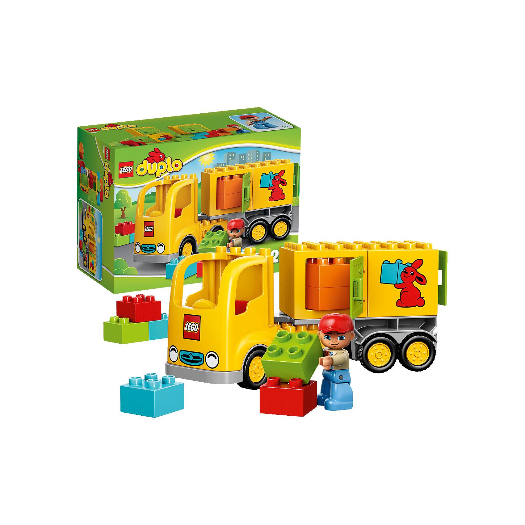 LEGO DUPLO 10601: Желтый грузовикЗамечательная новинка от LEGO DUPLO (ЛЕГО Дупло) 10601: Желтый грузовик! В одном конструкторе собраны два любимых детских занятия: игры с кубиками и машинками. Яркий и легкий в сборке грузовичок даст малышу большой простор для фантазии: можно построить большой грузовик с прицепом и дверками для грузов, а можно сделать маленький грузовичок, а из остальных деталей построить здание склада или домик водителя. Что сегодня повезет в кузове своего грузовика водитель решать только тебе. Более увлекательного набора для развития ребенка просто не найти. Строя грузовик, домик, пирамиду из кубиков и просто соединяя детали между собой, ребёнок в увлекательной игровой форме тренирует мелкую моторику и координацию. Создайте милые и увлекательные сюжеты с набором LEGO DUPLO (ЛЕГО Дупло) 10601: Желтый грузовик или объедините его с другими наборами серии и игра станет еще увлекательнее!  <br><br>Конструкторы LEGO DUPLO (ЛЕГО ДУПЛО) созданы специально для детей дошкольного возраста. Они сочетают увлекательную игру и обучение, а также развивают мелкую моторику, пространственное мышление и творческие способности малышей. Кубики LEGO DUPLO (ЛЕГО ДУПЛО) в 8 раз больше, чем обычные, что позволяет ребенку удобно держать их ручками и быстро строить. Большое количество дополнительных элементов делает игровые сюжеты по-настоящему захватывающими и реалистичными. Все наборы LEGO DUPLO (ЛЕГО ДУПЛО) соответствуют самым высоким европейским стандартам качества и абсолютно безопасны. <br><br>Дополнительная информация:<br><br>- Конструкторы LEGO (ЛЕГО) отлично развивают моторику, мышление и фантазию Вашего ребенка;<br>- В комплекте: минифигурка водителя, детали набора;<br>- Количество деталей: 19 шт;<br>- Идеальный первый конструктор;<br>- Серия: LEGO DUPLO (ЛЕГО Дупло);<br>- Материал: безопасный пластик;<br>- Размер упаковки: 26 x 19 x 12 см;<br>- Вес: 800 г<br><br>Конструктор LEGO DUPLO (ЛЕГО Дупло) 10601: Желтый грузовик можно купить в нашем магазине.<br><br>Ширина 