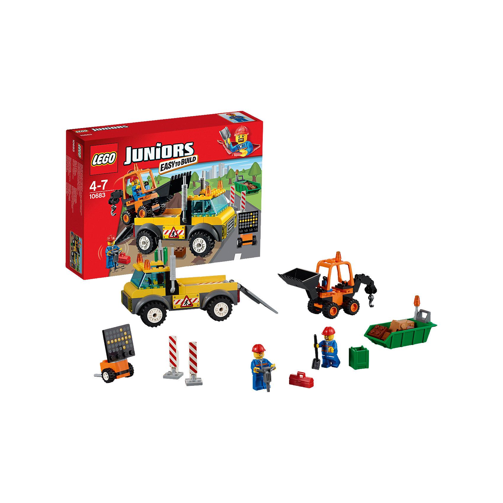 LEGO Juniors 10683: Ремонт дорогиКонструктор LEGO Juniors (ЛЕГО Джуниорс) 10683: Ремонт дороги - мечта мальчишек, обожающих крупную дорожную технику. Дети всегда внимательно наблюдают, как сильные машины поднимают огромные камни, ремонтируя дорогу. Теперь Ваш малыш может не только наблюдать, но и организовать дорожные работы прямо у себя дома. Масштабный набор содержит погрузчик, оснащенный сигнальными огнями, который привозит к месту ремонта маневренный экскаватор. В это время рабочие уже организовали объезд, расставив дорожные знаки и указатели. Они буром рассекают старое дорожное полотно. Большие куски асфальта экскаватор складывает в контейнер, а маленькие рабочий убирает с помощью лопаты. Теперь осталось загрузить контейнер в погрузчик и работа сделана! Ребенок сможет придумать множество увлекательных сюжетов с деталями набора LEGO Juniors (ЛЕГО Джуниорс) 10683: Ремонт дороги. Подключайте фантазию и Вам никогда не будет скучно в компании LEGO (ЛЕГО)!<br><br>Конструкторы LEGO Juniors (ЛЕГО Джуниорс) - специально разработаны для детей от 4 до 7 лет. Размер кубиков и деталей соответствует обычным размерам. При этом наборы очень просты в сборке. Понятные инструкции позволяют детям быстро получить результат и приступить к игре. Конструкторы этой серии прекрасно детализированы, яркие, прочные, имеют множество различных сюжетов - идеально подходят для реалистичных и познавательных игр.<br><br>Дополнительная информация:<br><br>- Игра с конструктором  LEGO (ЛЕГО) развивает мелкую моторику ребенка, фантазию и воображение, учит его усидчивости и внимательности;<br>- В комплекте: 2 минифигурки дорожных рабочих, бур, ящик для инструментов, дорожные знаки, детали набора; <br>- Количество деталей: 132 шт;<br>- Отлично подойдет для сюжетно-ролевых игр;<br>- Серия: LEGO Juniors (ЛЕГО Джуниорс);<br>- Материал: высококачественный пластик.<br><br>Конструктор LEGO Juniors (ЛЕГО Джуниорс) 10683: Ремонт дороги можно купить в нашем интернет-магазине.<br><br>Ширина мм: 264<br>Глубина м
