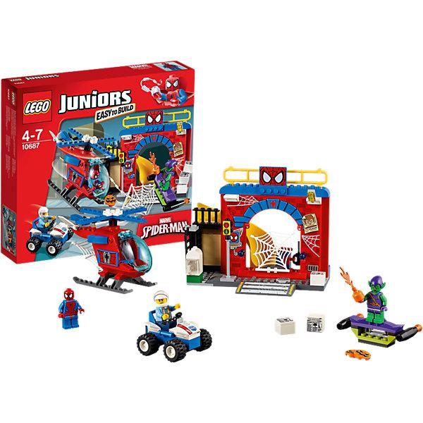 LEGO Juniors 10687: Убежище Человека-паука™Пластмассовые конструкторы<br>Конструктор LEGO Juniors (ЛЕГО Джуниорс) 10687: Убежище Человека-паука™ придется по душе всем любителям комиксов и мультфильмов про знаменитого героя. Из нового набора ребенок узнает, где скрывается Человек-паук от посторонних глаз. Как и положено тайному логову, убежище оснащено системой охраны. Чувствительная сеть на входе улавливает самые слабые вибрации, а по компьютеру можно следить за ситуацией в городе и связываться с полицией. Прожектор освещает ориентировки на опасных злодеев, развешанные на стене убежища. Один из таких преступников -  Зеленый Гоблин, решил уничтожить Человека-паука, обстреляв его жилище тыквенными бомбами из планера. Но герой разгадал коварный план и решил сразиться со злодеем с помощью суперсовременного вертолета. Его паутиномет стреляет без промаха, но силы не равны. Тогда в дело вступает полицейский вездеход. Чем закончится сражение - решать только тебе! Ребенок сможет придумать множество увлекательных сюжетов с деталями набора LEGO Juniors (ЛЕГО Джуниорс) 10687: Убежище Человека-паука™. Подключайте фантазию и Вам никогда не будет скучно в компании LEGO (ЛЕГО)!<br><br>Конструкторы LEGO Juniors (ЛЕГО Джуниорс) - специально разработаны для детей от 4 до 7 лет. Размер кубиков и деталей соответствует обычным размерам. При этом наборы очень просты в сборке. Понятные инструкции позволяют детям быстро получить результат и приступить к игре. Конструкторы этой серии прекрасно детализированы, яркие, прочные, имеют множество различных сюжетов - идеально подходят для реалистичных и познавательных игр.<br><br>Дополнительная информация:<br><br>- Игра с конструктором  LEGO (ЛЕГО) развивает мелкую моторику ребенка, фантазию и воображение, учит его усидчивости и внимательности;<br>- В комплекте: 3 минифигурки (Человек-Паук, Зеленый Гоблин и полицейский), множество тематических аксессуаров, детали набора; <br>- Количество деталей: 137 шт;<br>- Отлично подойдет для сюжетно-ролевых иг