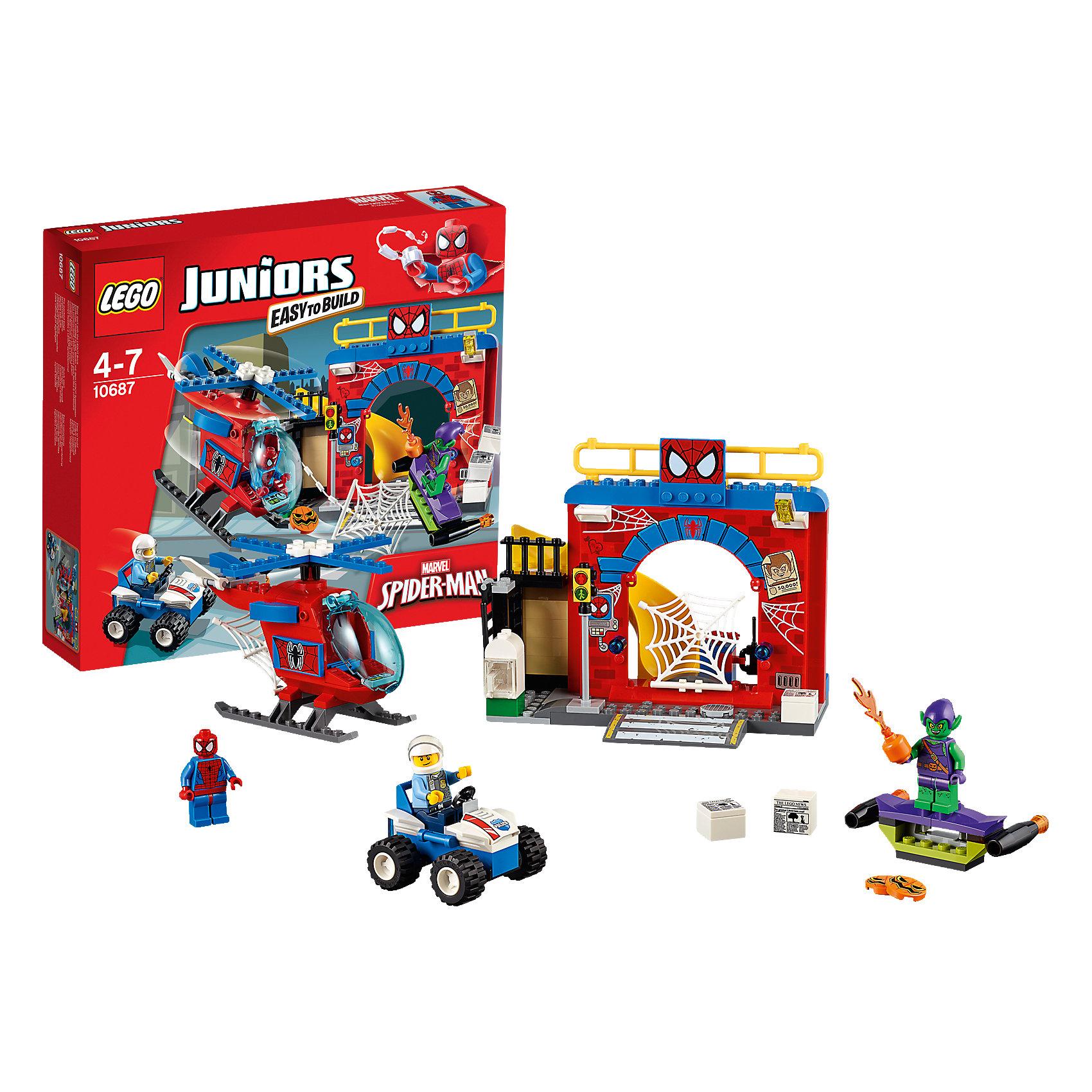 LEGO Juniors 10687: Убежище Человека-паука™Конструктор LEGO Juniors (ЛЕГО Джуниорс) 10687: Убежище Человека-паука™ придется по душе всем любителям комиксов и мультфильмов про знаменитого героя. Из нового набора ребенок узнает, где скрывается Человек-паук от посторонних глаз. Как и положено тайному логову, убежище оснащено системой охраны. Чувствительная сеть на входе улавливает самые слабые вибрации, а по компьютеру можно следить за ситуацией в городе и связываться с полицией. Прожектор освещает ориентировки на опасных злодеев, развешанные на стене убежища. Один из таких преступников -  Зеленый Гоблин, решил уничтожить Человека-паука, обстреляв его жилище тыквенными бомбами из планера. Но герой разгадал коварный план и решил сразиться со злодеем с помощью суперсовременного вертолета. Его паутиномет стреляет без промаха, но силы не равны. Тогда в дело вступает полицейский вездеход. Чем закончится сражение - решать только тебе! Ребенок сможет придумать множество увлекательных сюжетов с деталями набора LEGO Juniors (ЛЕГО Джуниорс) 10687: Убежище Человека-паука™. Подключайте фантазию и Вам никогда не будет скучно в компании LEGO (ЛЕГО)!<br><br>Конструкторы LEGO Juniors (ЛЕГО Джуниорс) - специально разработаны для детей от 4 до 7 лет. Размер кубиков и деталей соответствует обычным размерам. При этом наборы очень просты в сборке. Понятные инструкции позволяют детям быстро получить результат и приступить к игре. Конструкторы этой серии прекрасно детализированы, яркие, прочные, имеют множество различных сюжетов - идеально подходят для реалистичных и познавательных игр.<br><br>Дополнительная информация:<br><br>- Игра с конструктором  LEGO (ЛЕГО) развивает мелкую моторику ребенка, фантазию и воображение, учит его усидчивости и внимательности;<br>- В комплекте: 3 минифигурки (Человек-Паук, Зеленый Гоблин и полицейский), множество тематических аксессуаров, детали набора; <br>- Количество деталей: 137 шт;<br>- Отлично подойдет для сюжетно-ролевых игр;<br>- Серия: LEGO Juniors (Л