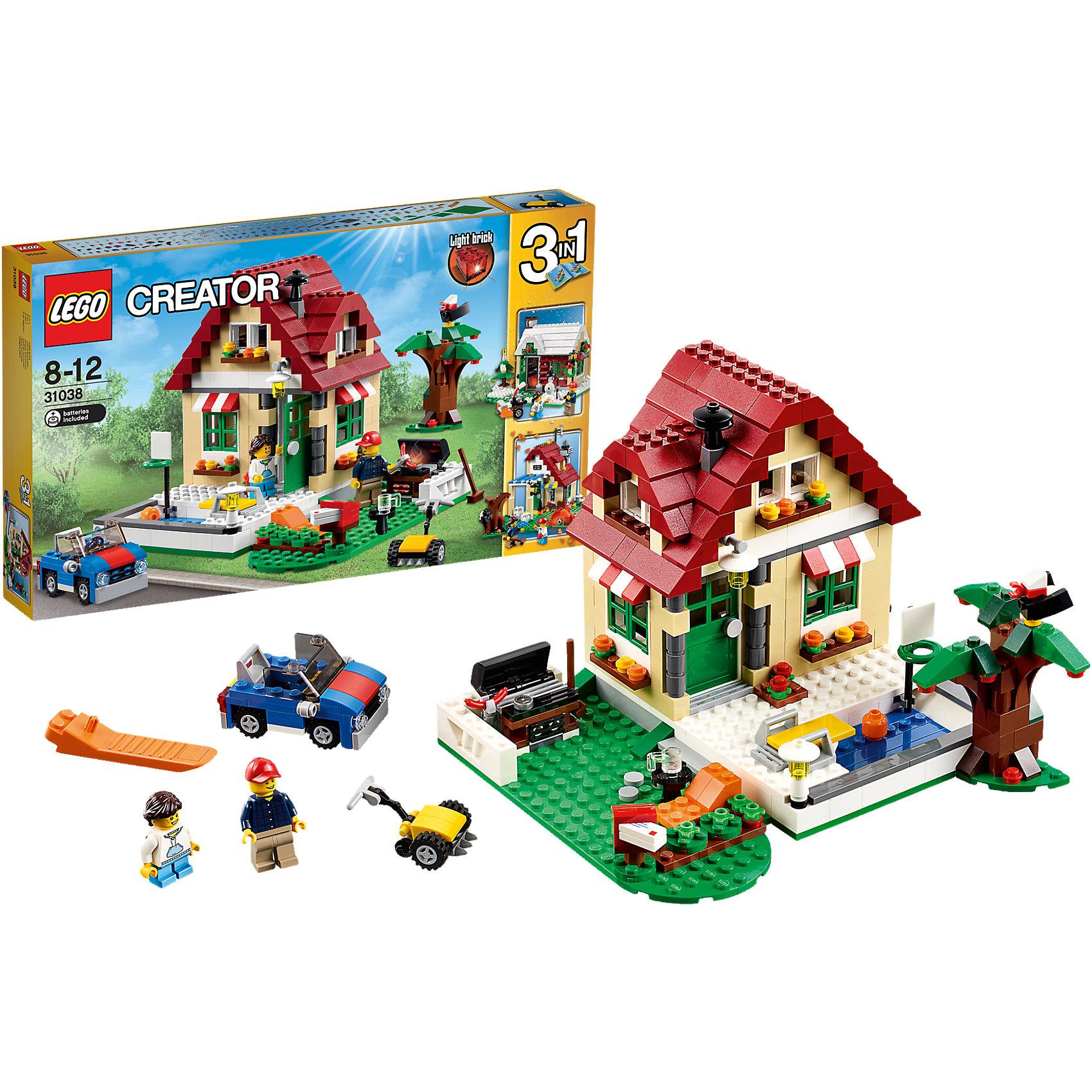 LEGO Creator 31038: Времена годаКонструктор LEGO Creator (ЛЕГО Креатор) 31038: Времена года - познакомит ребенка с жизнью прелестного дачного домика в разные времена года. Набор полон тематических аксессуаров, которые подстегнут детскую фантазию. Играть будет интересно не только в домике, но и на площадке вокруг дома. И летом и зимой на ней происходит много всего интересного. Летом хозяин подстригает траву, пока малышка резвится в бассейне, зимой все вместе наряжают елку во дворе, а осенью устраивают барбекю. У дачников красивый сад, который облюбовала птичка. Вечером они собираются в комнате, чтобы попить чай. Когда необходимо выехать в город за продуктами дачники садятся в удобный автомобиль и едут покупать необходимые вещи.  Создавая убранство дома и лужайки, создавая интересные сюжеты, малыш в увлекательной игровой форме развивает фантазию, мелкую моторику и координацию движений. Ребенок сможет придумать множество увлекательных сюжетов с деталями набора LEGO Creator (ЛЕГО Креатор) 31038: Времена года. Подключайте фантазию и Вам никогда не будет скучно в компании LEGO (ЛЕГО)!<br><br>С помощью конструкторов серии LEGO Creator (ЛЕГО Креатор) малыш учится собственными руками создавать что-то новое, познает устройство окружающей действительности, развивает мышление и творческие способности. Особенность этой серии в том, что у одного набора существует 3 готовых варианта сборки. Но малыш может проявить фантазию и собрать то, что рисует его воображение. В серию входят стандартные кубики, из которых можно собрать дома, автомобили и многое другое. Все выпускаемые конструкторы LEGO Creator (ЛЕГО Креатор) взаимозаменяемы, поэтому детали от любого набора прекрасно подойдут к уже имеющемуся конструктору.<br><br>Дополнительная информация:<br><br>- Игра с конструктором  LEGO (ЛЕГО) развивает мелкую моторику ребенка, фантазию и воображение, учит его усидчивости и внимательности;<br>- В комплекте: 2 минифигурки (взрослый, ребенок), множество тематических аксессуаров, детали набор