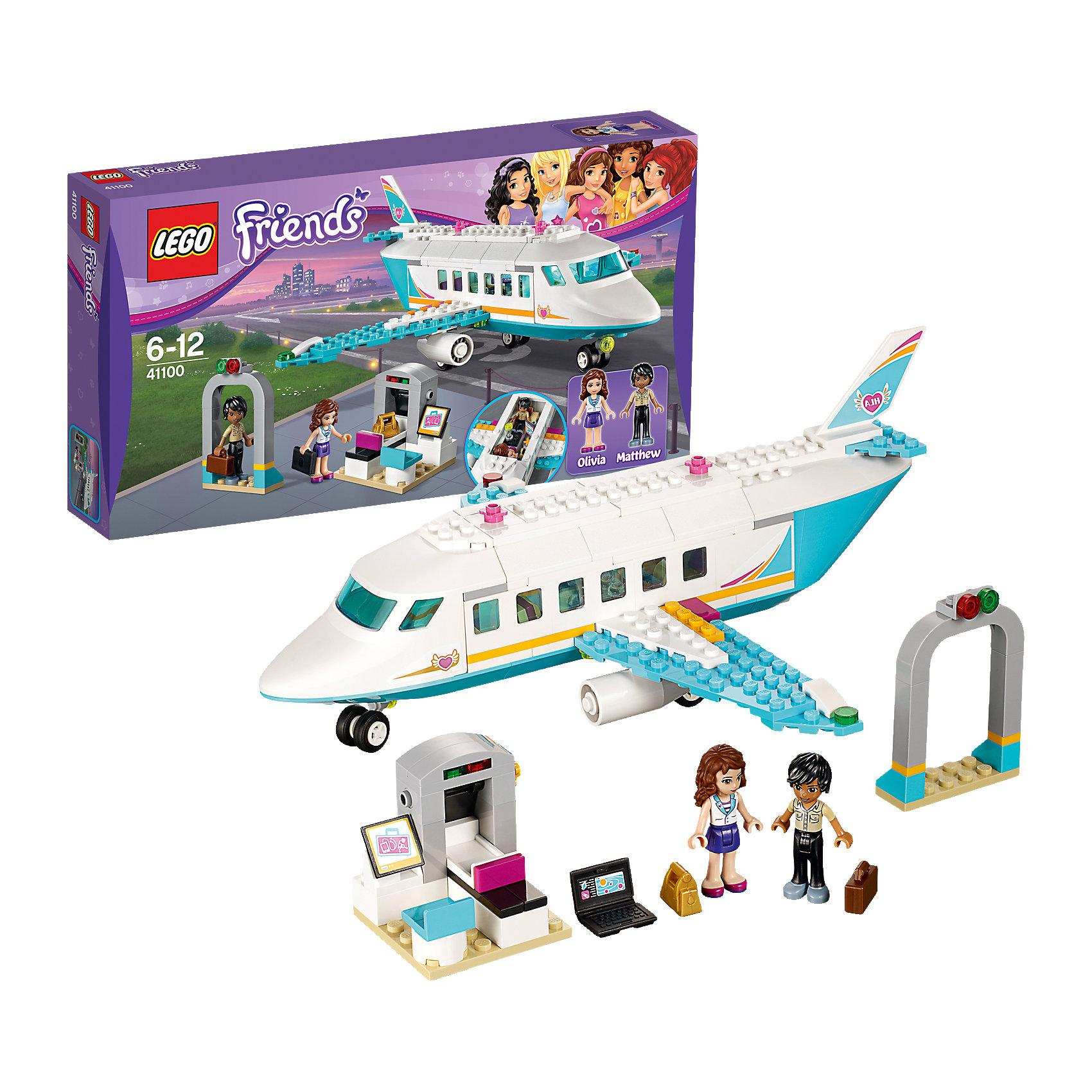 LEGO Friends 41100: Частный самолетКонструктор LEGO Friends (ЛЕГО Подружки) 41100: Частный самолет - невероятно интересный набор со множеством аксессуаров. Оливия и Мэтью отправляются в сказочное путешествие к солнцу и морю. Они полетят на прекрасном частном лайнере со всеми возможными удобствами. Но перед этим им будет необходимо пройти через рамку металлодетектора и погрузить багаж на ленту конвейера. Если все проверки на безопасность пройдены, можно садиться в самолет, где им сразу предложат прохладительные напитки и любимые фильмы. Для полного комфорта в полете можно посетить туалетную комнату. Создавая интересные ситуации, ребёнок в увлекательной игровой форме развивает фантазию, мелкую моторику и координацию движений. Девочка сможет придумать множество увлекательных сюжетов с деталями набора LEGO Friends (ЛЕГО Подружки) 41100: Частный самолет. Подключайте фантазию и Вам никогда не будет скучно в компании LEGO (ЛЕГО)!<br><br>Серия конструкторов LEGO Friends (ЛЕГО Подружки) - увлекательные игровые наборы для девочек, их отличают яркие розовые детали, изысканный дизайн и множество игровых сюжетов, любимых девочками, такие как магазин, кафе, кондитерская, кукольные домики и многие другие.<br><br>Дополнительная информация:<br><br>- Игра с конструктором  LEGO (ЛЕГО) развивает мелкую моторику ребенка, фантазию и воображение, учит его усидчивости и внимательности;<br>- В комплекте: 2 минифигурки (Оливия и Мэтью),  множество тематических аксессуаров, детали набора; <br>- Количество деталей: 230 шт;<br>- Отлично подойдет для сюжетно-ролевых игр;<br>- Серия: LEGO Friends (ЛЕГО Подружки);<br>- Материал: высококачественный пластик;<br>- Размер упаковки: 35 х 19 х 6 см.<br><br>Конструктор LEGO Friends (ЛЕГО Подружки) 41100: Частный самолет можно купить в нашем интернет-магазине.<br><br>Ширина мм: 352<br>Глубина мм: 190<br>Высота мм: 58<br>Вес г: 426<br>Возраст от месяцев: 72<br>Возраст до месяцев: 144<br>Пол: Женский<br>Возраст: Детский<br>SKU: 4047367