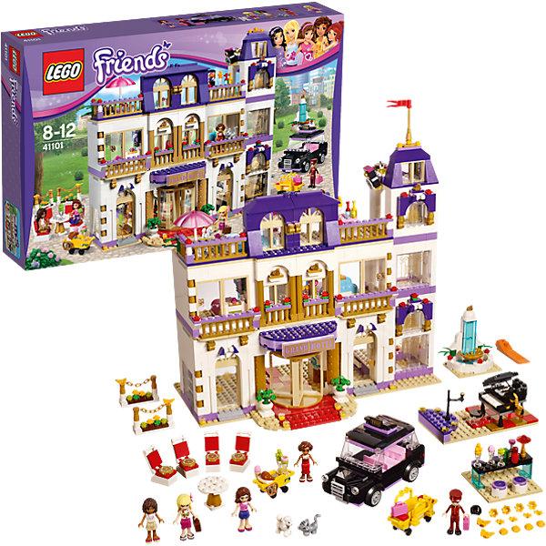 LEGO Friends 41101: Гранд-отельПластмассовые конструкторы<br>Конструктор LEGO Friends (ЛЕГО Подружки) 41101: Гранд-отель - самый масштабный и интересный набор во всей линейке. Новый отель, построенный в Хартлейк Сити потрясает своей красотой. Андреа, Оливия и Стефани обожают путешествовать, поэтому выбрали роскошный отель для очередного отдыха. Удобное такси подвозит их к центральному входу. Услужливый швейцар немедленно грузит багаж на тележку и девушки проходят в красивые вращающиеся двери. Под прекрасной люстрой на первом этаже расположилась стойка регистрации. Приветливый администратор раздает девушкам ключи от номеров, где их ожидает прекрасный интерьер и абсолютный комфорт. Девушки сразу же выходят на балкон, чтобы полюбоваться прекрасным видом. Когда подружки устроились, они поднимаются на лифте на третий этаж, где расположилась прекрасная терраса с бассейном и прохладительными напитками. Вечером девушки спустятся в ресторан, чтобы поужинать и послушать прекрасную музыку. Может быть кто-то из красоток захочет спеть. Создавая интересные ситуации, ребёнок в увлекательной игровой форме развивает фантазию, мелкую моторику и координацию движений. Девочка сможет придумать множество увлекательных сюжетов с деталями набора LEGO Friends (ЛЕГО Подружки) 41101: Гранд-отель. Подключайте фантазию и Вам никогда не будет скучно в компании LEGO (ЛЕГО)!<br><br>Серия конструкторов LEGO Friends (ЛЕГО Подружки) - увлекательные игровые наборы для девочек, их отличают яркие розовые детали, изысканный дизайн и множество игровых сюжетов, любимых девочками, такие как магазин, кафе, кондитерская, кукольные домики и многие другие.<br><br>Дополнительная информация:<br><br>- Игра с конструктором  LEGO (ЛЕГО) развивает мелкую моторику ребенка, фантазию и воображение, учит его усидчивости и внимательности;<br>- В комплекте: 5 минифигурок (Андреа, Оливия, Стефани, Сьюзен и Нейт), собака, кошка и множество тематических аксессуаров, детали набора; <br>- Количество деталей: 1555 шт;<br>- Отлич