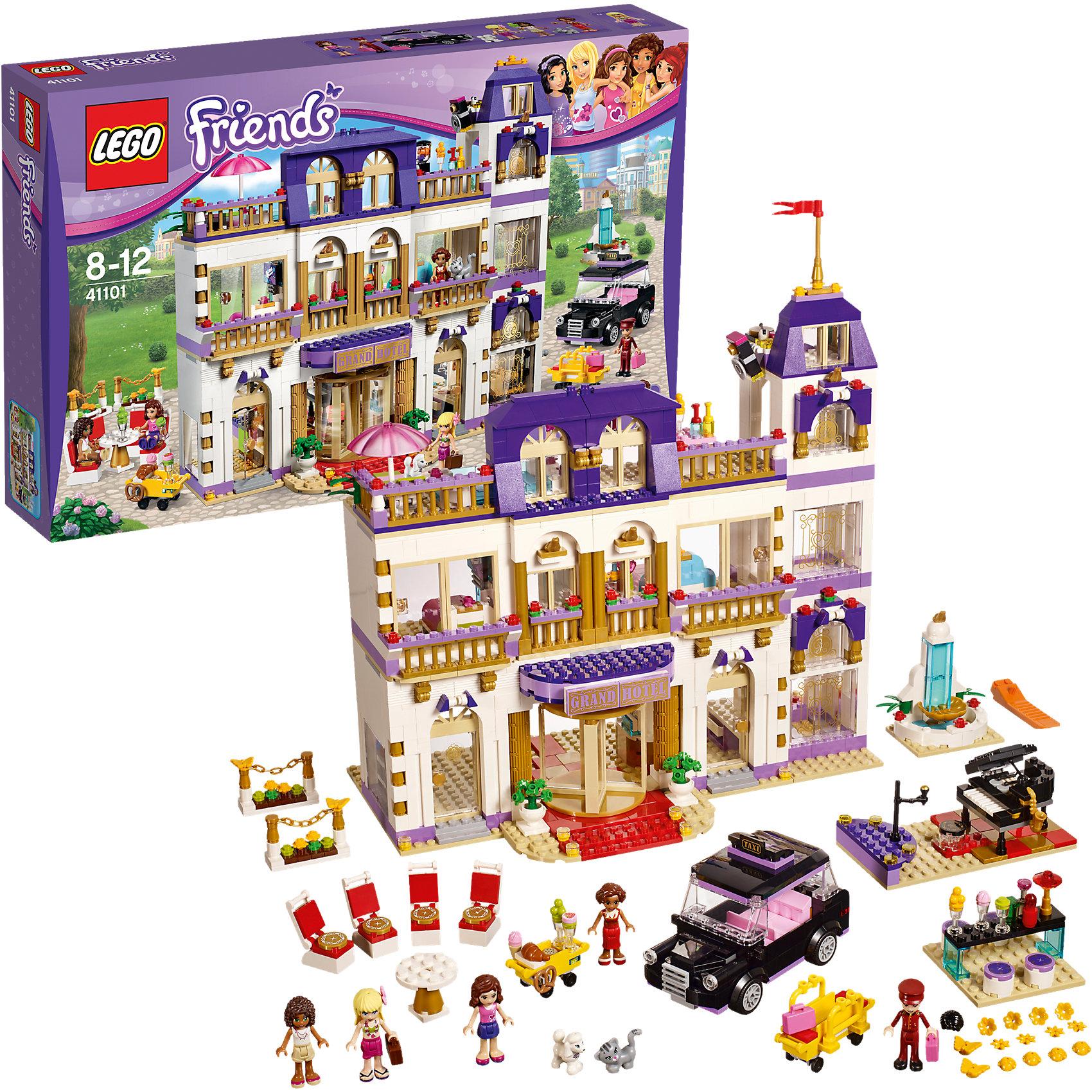 LEGO Friends 41101: Гранд-отельИдеи подарков<br>Конструктор LEGO Friends (ЛЕГО Подружки) 41101: Гранд-отель - самый масштабный и интересный набор во всей линейке. Новый отель, построенный в Хартлейк Сити потрясает своей красотой. Андреа, Оливия и Стефани обожают путешествовать, поэтому выбрали роскошный отель для очередного отдыха. Удобное такси подвозит их к центральному входу. Услужливый швейцар немедленно грузит багаж на тележку и девушки проходят в красивые вращающиеся двери. Под прекрасной люстрой на первом этаже расположилась стойка регистрации. Приветливый администратор раздает девушкам ключи от номеров, где их ожидает прекрасный интерьер и абсолютный комфорт. Девушки сразу же выходят на балкон, чтобы полюбоваться прекрасным видом. Когда подружки устроились, они поднимаются на лифте на третий этаж, где расположилась прекрасная терраса с бассейном и прохладительными напитками. Вечером девушки спустятся в ресторан, чтобы поужинать и послушать прекрасную музыку. Может быть кто-то из красоток захочет спеть. Создавая интересные ситуации, ребёнок в увлекательной игровой форме развивает фантазию, мелкую моторику и координацию движений. Девочка сможет придумать множество увлекательных сюжетов с деталями набора LEGO Friends (ЛЕГО Подружки) 41101: Гранд-отель. Подключайте фантазию и Вам никогда не будет скучно в компании LEGO (ЛЕГО)!<br><br>Серия конструкторов LEGO Friends (ЛЕГО Подружки) - увлекательные игровые наборы для девочек, их отличают яркие розовые детали, изысканный дизайн и множество игровых сюжетов, любимых девочками, такие как магазин, кафе, кондитерская, кукольные домики и многие другие.<br><br>Дополнительная информация:<br><br>- Игра с конструктором  LEGO (ЛЕГО) развивает мелкую моторику ребенка, фантазию и воображение, учит его усидчивости и внимательности;<br>- В комплекте: 5 минифигурок (Андреа, Оливия, Стефани, Сьюзен и Нейт), собака, кошка и множество тематических аксессуаров, детали набора; <br>- Количество деталей: 1555 шт;<br>- Отлично подойдет д