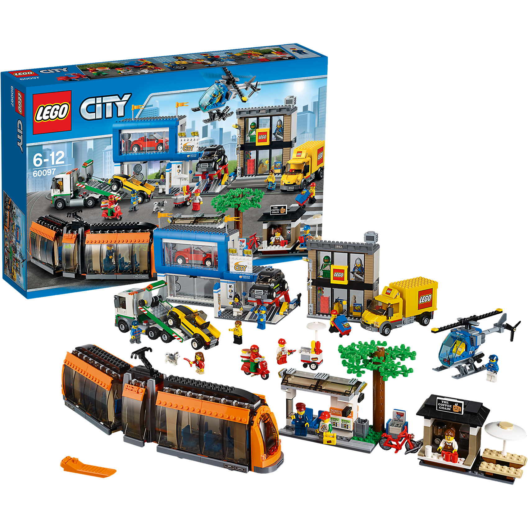 LEGO City 60097: Городская площадьПластмассовые конструкторы<br>Замечательная новинка 2015 года от LEGO City (ЛЕГО Сити) 60097: Городская площадь. С помощью деталей набора можно с головой погрузиться с шумный и динамичный мир города, где на каждом шагу случаются разные события. Кто-то запросто катается на велосипеде и посещает кофейню. А у пилота вертолета как всегда напряженный день. Зато из кабины вертолета открывается отличный вид на город. В магазинах как всегда оживление. Кто-то выбирает автомобиль, а кто-то завозит новый товар. Чтобы везде успеть, можно прокатиться на трамвае. Время обеда, поэтому курьеры мчатся по всему городу, чтобы вовремя доставить вкуснейшую пиццу. Игры со множеством городских сюжетов очень понравятся детям, тем более, что с таким набором очень интересно играть как одному, так и с большой компанией друзей. Примерь на себя всевозможные профессии и выбери самую интересную!<br><br>В необычном городе LEGO City непременно найдется место и строгим полицейским, и доброжелательным местным жителям, и заботливым работникам скорой помощи, а также всевозможным животным и красивым цветам и растениям. Используя детали из серии LEGO City (ЛЕГО Сити) можно создать практически любой сюжет городской жизни мегаполиса. <br><br>Дополнительная информация:<br><br>- Конструкторы LEGO City (ЛЕГО Сити) развивают тактильные ощущения и помогают ребенку познавать строение мира;<br>- Количество деталей: 1683 шт;<br>- В набор входят 14 минифигурок: продавец магазина, водитель доставки, водитель трамвая, пилот вертолета, продавщица кофейни, доставщик пиццы, механик, продавец автомобилей, продавец хот-догов, водитель эвакуатора, мальчик и девочка;<br>- Серия: LEGO City (ЛЕГО Сити);<br>- Материал: пластик;<br>- Размер упаковки: 58,2 х 37,8 х 11,8 см;<br>- Вес: 3 кг<br><br>Конструктор LEGO City (ЛЕГО Сити) 60097: Городская площадь, можно купить в нашем интернет-магазине.<br><br>Ширина мм: 585<br>Глубина мм: 375<br>Высота мм: 120<br>Вес г: 3121<br>Возраст от месяцев: 72<br>