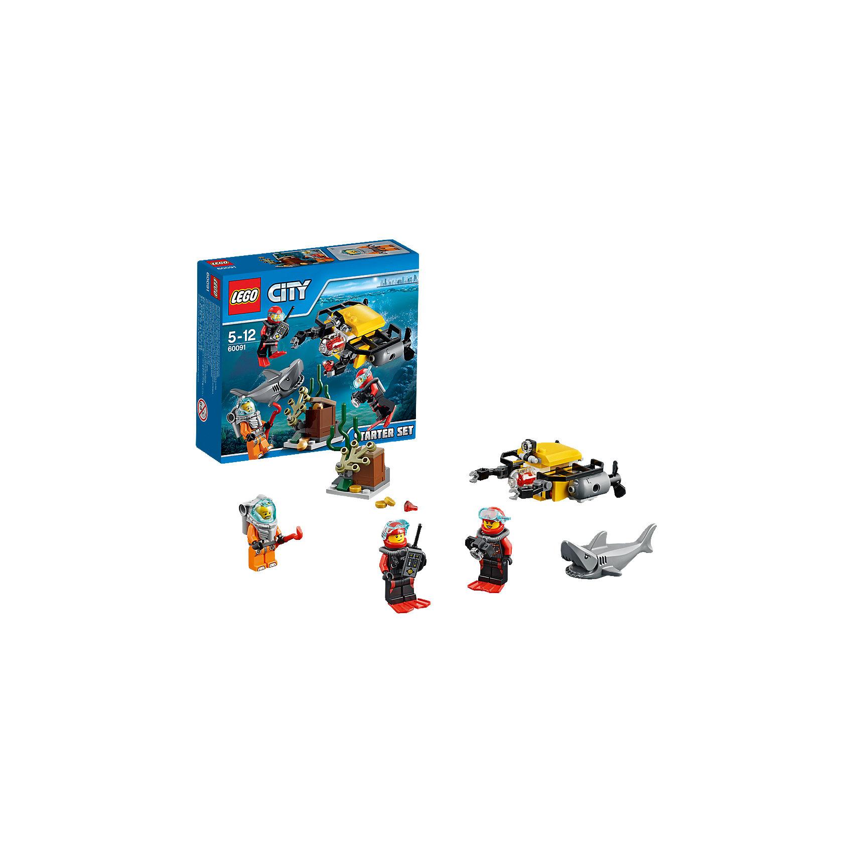 LEGO City 60091: Набор для начинающих «Исследование морских глубин»Замечательная новинка 2015 года от LEGO City (ЛЕГО Сити) 60091: Набор для начинающих «Исследование морских глубин». Ничего не бойся, покоряй морские глубины в поисках клада! Тебя обязательно ждут захватывающие приключения! Храбрые ныряльщики с аквалангами нашли на дне среди водорослей большой сундук. Теперь им необходима подмога, чтобы доставить сокровища на берег. Из деталей набора можно собрать суперсовременную подлодку с дистанционным управлением. Она спускается на дно, подсвечивая себе путь мощным прожектором. Ее роботизированные захваты смогут прорваться через плотные ряды водорослей и закрепят тяжелый сундук, чтобы поднять его наверх. Но нельзя безнаказанно нарушать покой морских глубин: ныряльщики потревожили акулу, которая незаметно выплыла из морской пучины. Отважным кладоискателям нужно действовать стремительно, чтобы справиться с хищником и добыть сокровища.<br><br>В необычном городе LEGO City непременно найдется место и строгим полицейским, и доброжелательным местным жителям, и заботливым работникам скорой помощи, а также всевозможным животным и красивым цветам и растениям. Используя детали из серии LEGO City (ЛЕГО Сити) можно создать практически любой сюжет городской жизни мегаполиса. Подсерия LEGO City (ЛЕГО Сити) Дайвинг включает в себя наборы, посвященные подводным приключениям. Каждый набор позволяет собрать интересную модель, а также предлагает игровые минифигурки и тематические аксессуары.<br><br>Дополнительная информация:<br><br>- Конструкторы LEGO City (ЛЕГО Сити) развивают тактильные ощущения и помогают ребенку познавать строение мира;<br>- Количество деталей: 90 шт;<br>- В набор входит 3 минифигурки: глубоководный ныряльщик, 2 аквалангиста;<br>- Серия: LEGO City (ЛЕГО Сити);<br>- Материал: пластик;<br>- Размер упаковки: 15,7 х 14,1 х 4,5 см;<br>- Вес: 0,4 кг<br><br>Конструктор LEGO City (ЛЕГО Сити) 60091: Набор для начинающих «Исследование морских глубин», можно купить в нашем 