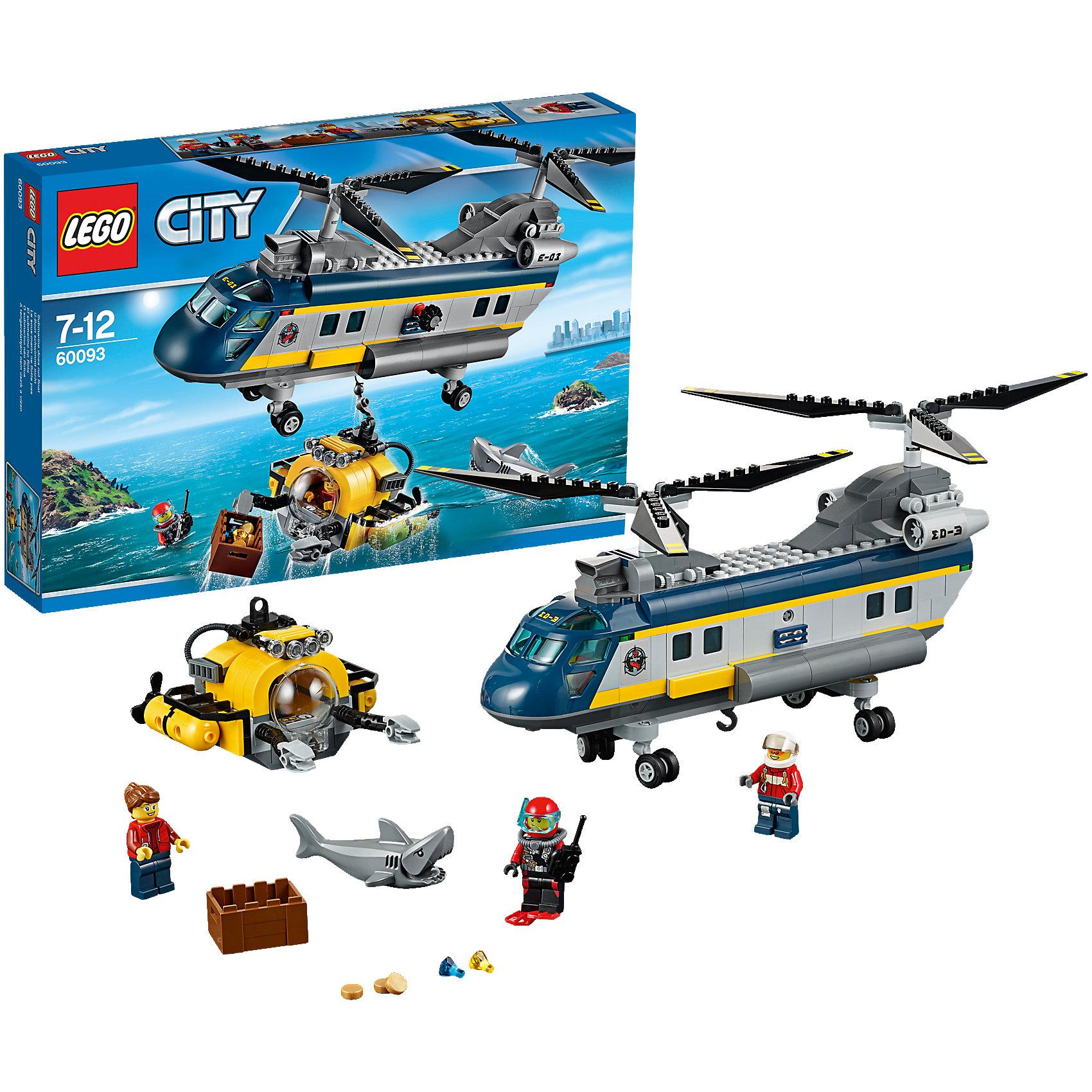 LEGO City 60093: Вертолет исследователей моряПластмассовые конструкторы<br>Замечательная новинка 2015 года от LEGO City (ЛЕГО Сити) 60093: Вертолет исследователей моря. Почувствуй себя настоящим спасателем! Храбрые исследователи планируют рискованные погружения, но зубастые обитатели морской пучины не любят, когда искатели приключений нарушают их покой. Аквалангисты используют суперсовременный батискаф для погружений. Он поможет подводникам поднять сундук с сокровищами и не стать жертвами коварной акулы. Благодаря прозрачной кабине у исследователей отличный обзор, а темноту дна осветит мощный прожектор. Подвижные манипуляторы захватят сундук с сокровищами и помогут отбить атаки акулы. Но если исследователям нужно срочно укрыться и шансы на спасение минимальны, в дело вступает суперсовременный вертолет. Пилот запускает винты и скользит над водной гладью. Как только батискаф с исследователями замечен, можно опускать лебедку и прикреплять его крюком. Разыгрывай замечательные истории из жизни пилота спасательного вертолета с набором LEGO City (ЛЕГО Сити): Вертолет исследователей моря.<br><br>В необычном городе LEGO City непременно найдется место и строгим полицейским, и доброжелательным местным жителям, и заботливым работникам скорой помощи, а также всевозможным животным и красивым цветам и растениям. Используя детали из серии LEGO City (ЛЕГО Сити) можно создать практически любой сюжет городской жизни мегаполиса. Подсерия LEGO City (ЛЕГО Сити) Дайвинг включает в себя наборы, посвященные подводным приключениям. Каждый набор позволяет собрать интересную модель, а также предлагает игровые минифигурки и тематические аксессуары.<br><br>Дополнительная информация:<br><br>- Конструкторы LEGO City (ЛЕГО Сити) развивают тактильные ощущения и помогают ребенку познавать строение мира;<br>- Количество деталей: 388 шт;<br>- В набор входит 3 минифигурки: аквалангист, пилот, подводник;<br>- Серия: LEGO City (ЛЕГО Сити);<br>- Материал: пластик;<br>- Размер упаковки: 38,2 х 26,2 х 5,7 см