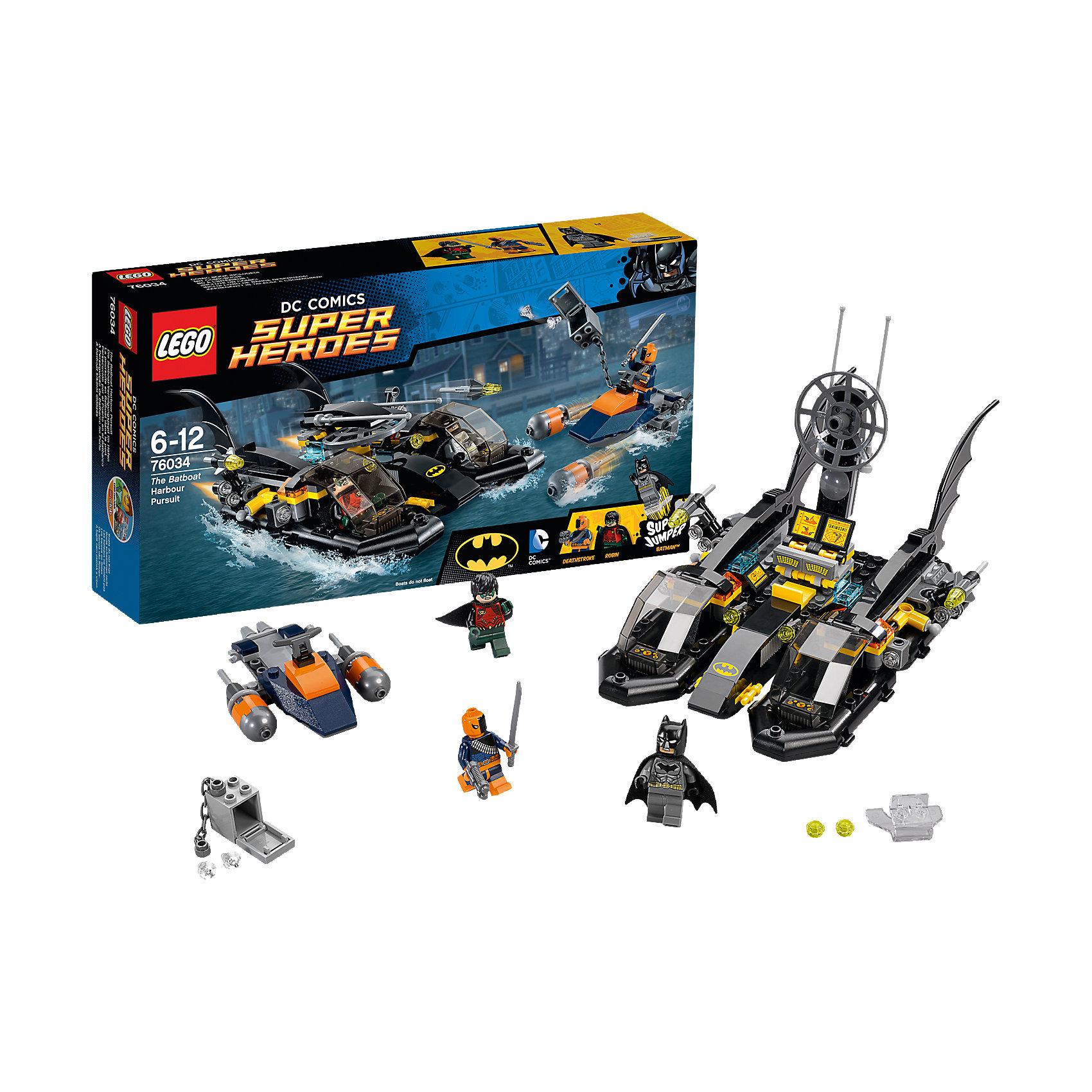 LEGO Super Heroes 76034: Погоня в бухте на БэткатереЗамечательная новинка 2015 года от LEGO Super Heroes (ЛЕГО Супер Герои) 76034: Погоня в бухте на Бэткатере. Дезстроук организовал масштабное ограбление. В его руках оказались алмазы огромной ценности. Он продумал все до мелочей: умчать его от преследователей должен реактивный катер. Однако скрыться от блюстителей порядка не так легко. Поручить такую отважную миссию можно только прославленным героям: Бэтмену и Робину. С помощью сверхмощных радаров герои быстро отслеживают местонахождение преступника. И начинается погоня. Героям приходится нелегко: ракеты Дезстроука разят точно в цель. Дезстроук передвигается прыжками, надеясь обмануть радар преследователей и скрыться из виду. Бэткатер стремительно передвигается на воздушной подушке, но каким будет исход погони решать только тебе!<br><br>LEGO Super Heroes (ЛЕГО Супер Герои) - серия конструкторов созданная специально по мотивам всеми известных комиксов. Спасай мир и борись со злом вместе с любимыми супергероями! Наборы серии можно комбинировать между собой, давая безграничный простор для фантазии и придумывая свои новые истории. <br><br>Дополнительная информация:<br><br>- Конструкторы LEGO (ЛЕГО) развивают усидчивость, внимание, фантазию и мелкую моторику; <br>- В комплекте 3 минифигурки с аксессуарами: Бэтмен, Робин, Дезстроук;<br>- Количество деталей: 264 шт;<br>- Серия ЛЕГО Супер Герои (LEGO Super Heroes);<br>- Материал: пластик;<br>- Размер: 35,4 х 19,1 х 7 см;<br>- Вес: 0,5 кг<br><br>Конструктор LEGO Super Heroes (ЛЕГО Супер Герои) 76034: Погоня в бухте на Бэткатере, можно купить в нашем магазине.<br><br>Ширина мм: 356<br>Глубина мм: 192<br>Высота мм: 76<br>Вес г: 501<br>Возраст от месяцев: 72<br>Возраст до месяцев: 144<br>Пол: Мужской<br>Возраст: Детский<br>SKU: 4047384