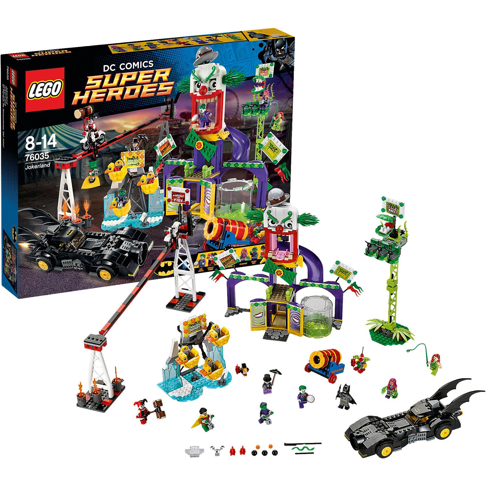 LEGO Super Heroes 76035: ДжокерлендЗамечательная новинка 2015 года от LEGO Super Heroes (ЛЕГО Супер Герои) 76035: Джокерленд. Джокер замыслил немыслимое по размаху злодеяние: превратить прекрасный парк, любимый жителями Готэм-Сити в Джокерленд. Гениальный злодей знает, что предстоит большая битва, но у него припрятаны тузы в рукаве: он взял в заложники Робина, Звереныша и Старфаера. Но запугать отважного Бэтмена не так просто. Как только он услышал о грозящей беде, сразу запрыгнул в Бэтмобиль и бросился на помощь мирным жителям города. Джокер приготовил Бэтмену множество испытаний: <br>уклоняться на полном ходу от пушки и целиться в клоуна, сразиться в поединке с Харли и сбросить Пингвина с пьедестала. Однако отдыхать некогда: Ядовитый плющ в любую минуту готов ужалить Бэтмена. Создай собственные захватывающие сюжеты, ведь в наборе Джокерленд столько всего интересного!<br><br>LEGO Super Heroes (ЛЕГО Супер Герои) - серия конструкторов созданная специально по мотивам всеми известных комиксов. Спасай мир и борись со злом вместе с любимыми супергероями! Наборы серии можно комбинировать между собой, давая безграничный простор для фантазии и придумывая свои новые истории. <br><br>Дополнительная информация:<br><br>- Конструкторы LEGO (ЛЕГО) развивают усидчивость, внимание, фантазию и мелкую моторику; <br>- В комплекте 8 минифигурок с аксессуарами: Робин, Пингвин, Звереныш, Джокер, Старфаер, Ядовитый плющ, Харли и Бэтмен;<br>- Количество деталей: 1037 шт;<br>- Серия ЛЕГО Супер Герои (LEGO Super Heroes);<br>- Материал: пластик;<br>- Размер: 48 х 37,8 х 7,1 см;<br>- Вес: 3 кг<br><br>Конструктор LEGO Super Heroes (ЛЕГО Супер Герои) 76035: Джокерленд, можно купить в нашем магазине.<br><br>Ширина мм: 482<br>Глубина мм: 375<br>Высота мм: 83<br>Вес г: 1738<br>Возраст от месяцев: 96<br>Возраст до месяцев: 168<br>Пол: Мужской<br>Возраст: Детский<br>SKU: 4047385