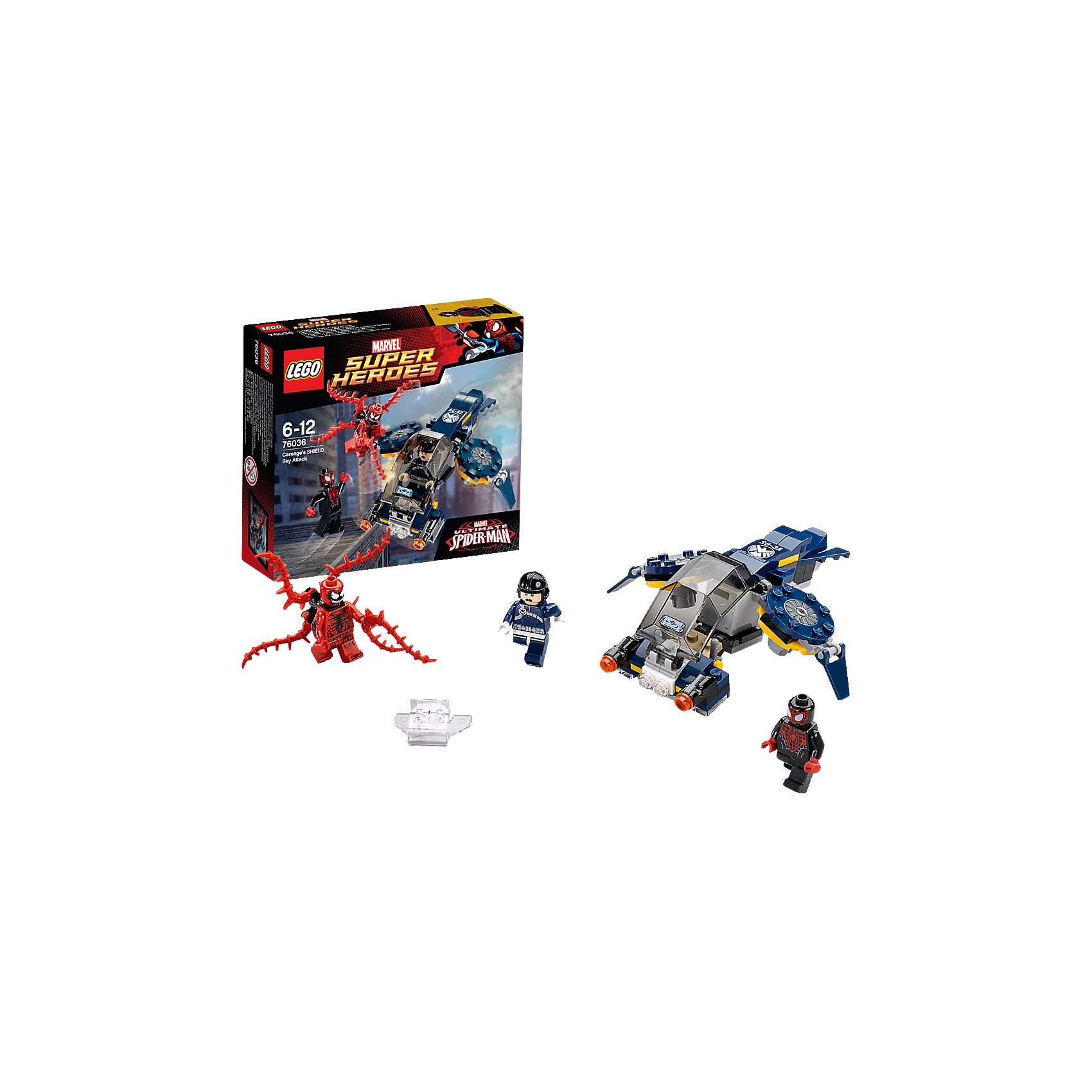 LEGO Super Heroes 76036: Воздушная атака КарнажаПластмассовые конструкторы<br>Замечательная новинка 2015 года от LEGO Super Heroes (ЛЕГО Супер Герои) 76036: Воздушная атака Карнажа. Почувствуй себя супергероем, который может справиться даже с самым коварным противником! Злодей Карнаж снова замыслил преступление: он сбежал из тюрьмы и готовит новые преступления. Но его коварным планам не суждено сбыться. На поимку беглеца отправляется храбрый агент ЩИТа, он надеется поймать беглеца по горячим следам, пока он не натворил новых дел. Набор Воздушная атака Карнажа предлагает юным конструкторам создать множество захватывающих  сюжетов: агент возвращает Карнажа в тюрьму или Карнаж оказывает сопротивление, агент вызывает на помощь подкрепление или Карнаж готовит засаду! С помощью деталей набора можно собрать реактивный самолет, который станет надежным помощником агента ЩИТа. Но отбить атаку щупалец Карнажа не так просто: в ход идут шипованные шутеры, которыми оборудован самолет. Силы не равны и на помощь агенту спешит легендарный Человек-паук. От ловких сетей Человека-паука еще не скрылся ни один преступник! Каким будет исход поединка решать тебе!<br><br>LEGO Super Heroes (ЛЕГО Супер Герои) - серия конструкторов созданная специально по мотивам всеми известных комиксов. Спасай мир и борись со злом вместе с любимыми супергероями! Наборы серии можно комбинировать между собой, давая безграничный простор для фантазии и придумывая свои новые истории. <br><br>Дополнительная информация:<br><br>- Конструкторы LEGO (ЛЕГО) развивают усидчивость, внимание, фантазию и мелкую моторику; <br>- В комплекте 3 минифигурки: Карнаж, агент ЩИТа и Человек-паук;<br>- Количество деталей: 97 шт;<br>- Серия ЛЕГО Супер Герои (LEGO Super Heroes);<br>- Материал: пластик;<br>- Размер: 15,7 х 14,1 х 4,5 см;<br>- Вес: 0,3 кг<br><br>Конструктор LEGO Super Heroes (ЛЕГО Супер Герои) 76036: Воздушная атака Карнажа, можно купить в нашем магазине.<br><br>Ширина мм: 161<br>Глубина мм: 142<br>Высота мм: 48<br>Вес 