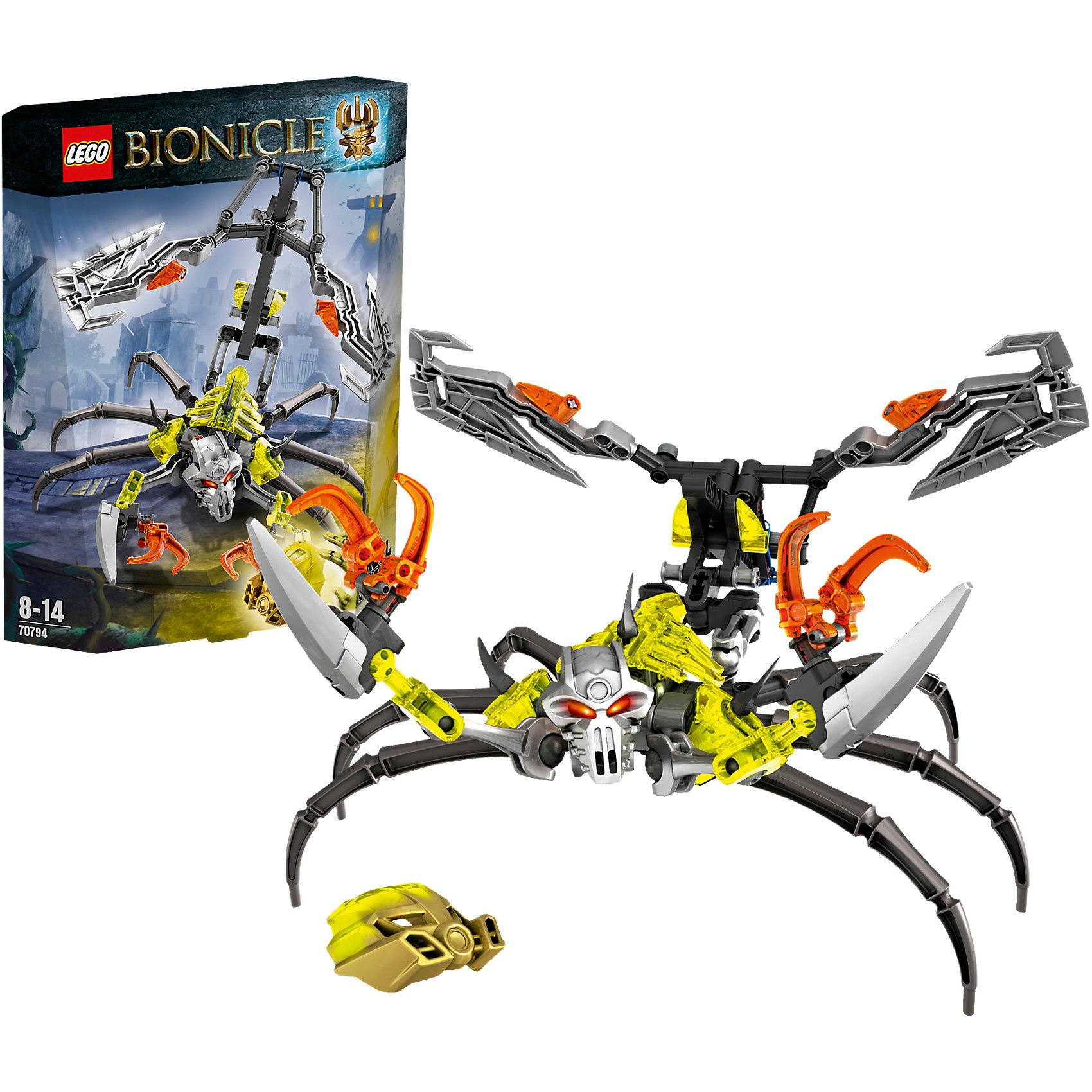 LEGO BIONICLE 70794: Череп-СкорпионНовинка 2015 года! LEGO Bionicle (ЛЕГО Бионикл) 70794: Череп-Скорпион. Стальной Череп создал монстра, который обитает в жутких подземельях. Он охотится за маской силы, которую необходимо доставить хозяину, чтобы придать ему еще больше смертоносной силы. Он устойчиво передвигается на шести ногах и имеет очень острые клешни, которыми расчищает себе путь. Когда Череп-Скорпион видит  врага у него раздваивается хвост и обнажаются два острых лезвия и ядовитое жало. Собранная фигурка воина имеет шарнирное строение, благодаря чему он может принимать реалистичные боевые позы. Кто посмеет спуститься в подземелье к Черепу-Скорпиону и дать бой - решать тебе!<br><br>Серия конструкторов LEGO Bionicle (ЛЕГО Бионикл) – это отдельный фантастический мир. Герои сражаются с мутантами Барраками, с многотысячной армией механических созданий Бороков, и самыми опасными и беспощадными убийцами Пираками. Многие персонажи серии совместимы друг с другом (несколько наборов собираются в один большой). Героев Бионикл можно коллекционировать. Все наборы LEGO Bionicle (ЛЕГО Бионикл) соответствуют самым высоким европейским стандартам качества и абсолютно безопасны. <br><br>Дополнительная информация:<br><br>- Игра с конструктором  LEGO (ЛЕГО) развивает мелкую моторику ребенка, фантазию и воображение, учит его усидчивости и внимательности;<br>- В комплекте: 107 деталей, инструкция;<br>- Серия: LEGO Bionicle (ЛЕГО Бионикл);<br>- Материал: высококачественный пластик;<br>- Размеры упаковки: 17 х 22 х 4 см;<br>- Вес: 0,13 кг<br><br>Конструктор LEGO Bionicle (ЛЕГО Бионикл) 70794: Череп-Скорпион, можно купить в нашем магазине.<br><br>Ширина мм: 227<br>Глубина мм: 175<br>Высота мм: 50<br>Вес г: 180<br>Возраст от месяцев: 96<br>Возраст до месяцев: 168<br>Пол: Мужской<br>Возраст: Детский<br>SKU: 4047392