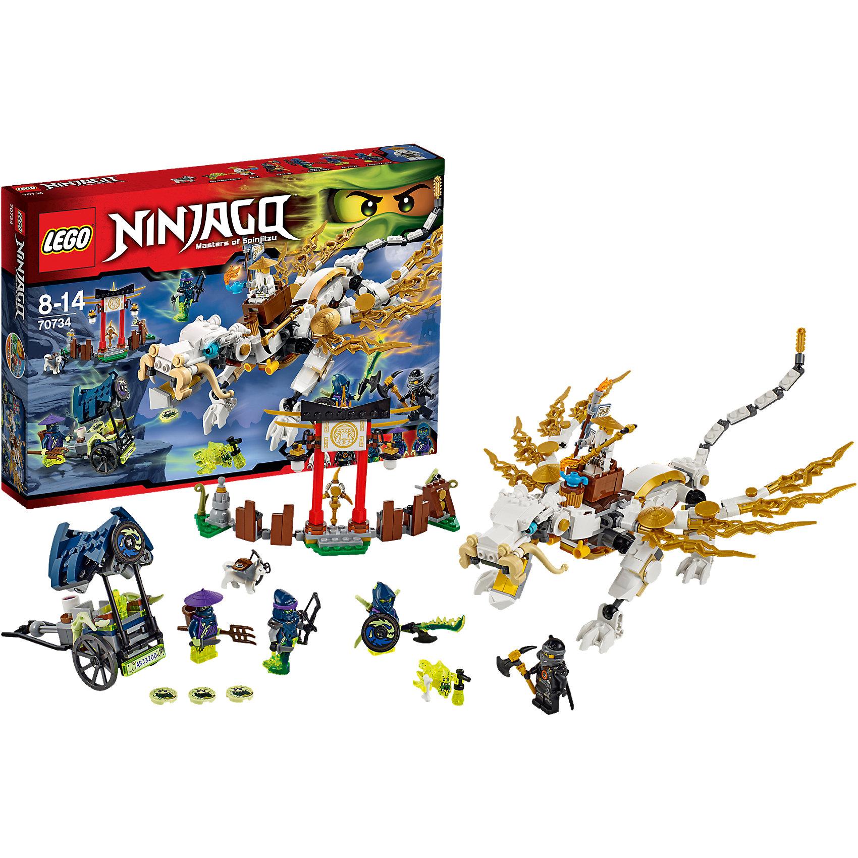 LEGO NINJAGO 70734: Дракон Сэнсэя ВуКонструктор LEGO Ninjago (ЛЕГО Ниндзяго)  70734: Дракон Сэнсэя Ву - это мечта мальчишек, которые обожают скорость и сражения. Мастер Ву создал дракона, с помощью которого можно защитить аэроклинок от призраков. Белый дракон очень подвижный, длинный хвост жалит неприятеля, а острыми когтями на лапах он может отбиваться от вездесущих Скримеров. Построй чайную ферму, заградительную арку и игра станет еще увлекательнее. Создавая интересные сюжеты, ребенок в увлекательной игровой форме развивает фантазию, воображение и координацию движений. Малыш сможет придумать множество увлекательных сюжетов с деталями набора LEGO Ninjago (ЛЕГО Ниндзяго)  70734: Дракон Сэнсэя Ву. Подключайте фантазию и Вам никогда не будет скучно в компании LEGO (ЛЕГО)!<br><br>LEGO Ninjago (ЛЕГО Ниндзяго) - серия детских конструкторов ЛЕГО, рассказывающая о приключениях четырех отважных ниндзя и их сенсея, о противостоянии злу и победе добра.<br><br>Дополнительная информация:<br><br>- Игра с конструктором  LEGO (ЛЕГО) развивает мелкую моторику ребенка, фантазию и воображение, учит его усидчивости и внимательности;<br>- В комплекте: 5 подвижных минифигурок (Сэнсэй, ниндзя, Мастер-лучник, воины-призраки), собака-лучник, скримеры, оружие, детали набора;<br>- Количество деталей: 575 шт;<br>- Серия: LEGO Ninjago (ЛЕГО Ниндзяго);<br>- Материал: высококачественный пластик;<br>- Размер упаковки: 38 х 26 х 6 см.<br><br>Конструктор LEGO Ninjago (ЛЕГО Ниндзяго)  70734: Дракон Сэнсэя Ву можно купить в нашем интернет-магазине.<br><br>Ширина мм: 385<br>Глубина мм: 258<br>Высота мм: 59<br>Вес г: 683<br>Возраст от месяцев: 96<br>Возраст до месяцев: 168<br>Пол: Мужской<br>Возраст: Детский<br>SKU: 4047402