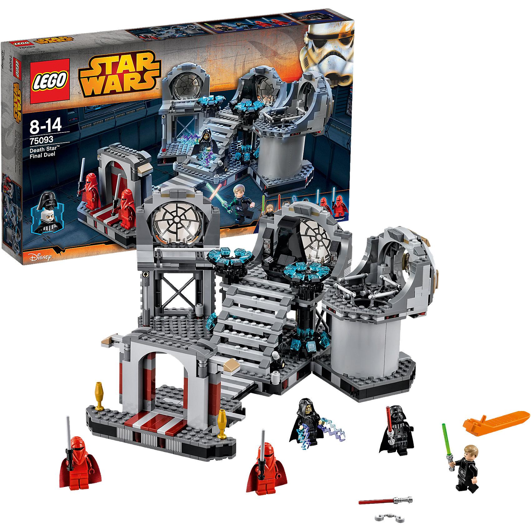 LEGO Star Wars 75093: Звезда Смерти™ - Последняя схваткаКонструктор LEGO Star Wars (ЛЕГО Звездные войны) 75093: Звезда Смерти™ - Последняя схватка - это мечта мальчишек, которые обожают вселенную Звездных Войн. Вам представится возможность воссоздать атмосферу решающего поединка из эпизода Возвращение Джедая. Такой точной детализации Вы еще не видели. Серый тронный зал Императора Палпатина точно такой как в фильме. Вы можете менять его конфигурацию в зависимости от игровой ситуации. Имперские гвардейцы, как всегда стерегут вход, защищаясь от нападения силовыми пиками. Поднимайся по высокой лестнице и займи черный вращающийся трон. По краям от него расположены энергетические модули и иллюминаторы. Правый отсек интересен множеством деталей: крепление для наручников Люка и пол, который можно обрушить в одну секунду при необходимости. Так же Вы сможете рассмотреть шахту, ведущую к реактору Звезды Смерти. Почувствуй себя сценаристом великой саги, используй минифигурки и создай собственную концовку знаменитого эпизода! Подключайте фантазию и Вам никогда не будет скучно в компании LEGO (ЛЕГО)!<br><br>LEGO Star Wars (ЛЕГО Звездные войны) – это тематическая серия детских развивающих конструкторов по мотивам приключенческого мультфильма 2014 года «Звездные войны: Повстанцы». Ребенок сможет часами играть с конструктором, придумывая различные ситуации и истории из любимого мультфильма. В процессе игры с конструктором дети приобретают и постигают такие необходимые навыки как познание, творчество, воображение.<br><br>Дополнительная информация:<br><br>- Игра с конструктором  LEGO (ЛЕГО) развивает мелкую моторику ребенка, фантазию и воображение, учит его усидчивости и внимательности;<br>- В комплекте: 5 минифигурок (Люк Скайуокер,  Дарт Вейдер, Император Палпатин и 2 Имперских гвардейца), оружие, детали набора;<br>- Количество деталей: 724 шт;<br>- Серия: LEGO Star Wars (ЛЕГО Звездные войны);<br>- Материал: высококачественный пластик;<br>- Размер тронного зала: 14 х 32 х 30 см;<br>