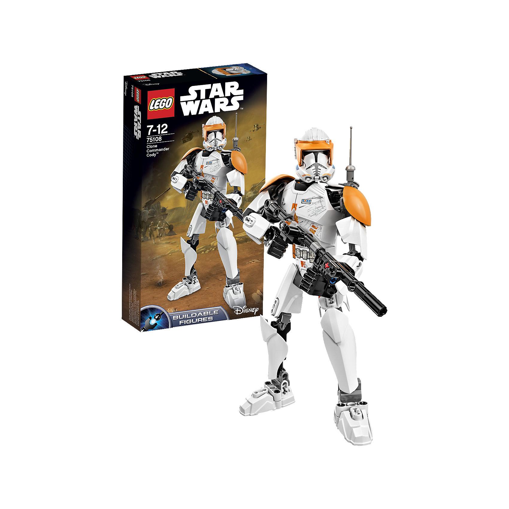 LEGO Star Wars 75108: Клон-коммандер КодиКонструктор LEGO Star Wars (ЛЕГО Звездные войны) 75108: Constraction 2 - это набор с помощью которого Вы с легкостью соберете подвижную фигурку Командира Коди. Коди был преданным и мудрым командиром. Он был отличным стратегом и отлично действовал в ближнем бою. Для Коди преданность Республики была важнее всего. Он как всегда в доспехах и отлично вооружен. Собери все фигурки и разыграй знаменитые сцены из саги или почувствуй себя сценаристом и создай собственную историю знаменитого эпизода! Подключайте фантазию и Вам никогда не будет скучно в компании LEGO (ЛЕГО)! <br><br>LEGO Star Wars (ЛЕГО Звездные войны) – это тематическая серия детских развивающих конструкторов по мотивам приключенческого мультфильма 2014 года «Звездные войны: Повстанцы». Ребенок сможет часами играть с конструктором, придумывая различные ситуации и истории из любимого мультфильма. В процессе игры с конструктором дети приобретают и постигают такие необходимые навыки как познание, творчество, воображение. Большое количество дополнительных элементов делает игровые сюжеты по-настоящему захватывающими и реалистичными. Все наборы ЛЕГО Звездные Войны соответствуют самым высоким европейским стандартам качества и абсолютно безопасны.<br><br>Дополнительная информация:<br><br>- Игра с конструктором  LEGO (ЛЕГО) развивает мелкую моторику ребенка, фантазию и воображение, учит его усидчивости и внимательности;<br>- Количество деталей: 82 шт;<br>- Подвижная фигурка с оружием;<br>- Серия: LEGO Star Wars (ЛЕГО Звездные войны);<br>- Материал: высококачественный пластик.<br><br>Конструктор LEGO Star Wars (ЛЕГО Звездные войны) 75108: Constraction 2 можно купить в нашем интернет-магазине.<br><br>Ширина мм: 265<br>Глубина мм: 144<br>Высота мм: 53<br>Вес г: 211<br>Возраст от месяцев: 84<br>Возраст до месяцев: 144<br>Пол: Мужской<br>Возраст: Детский<br>SKU: 4047417