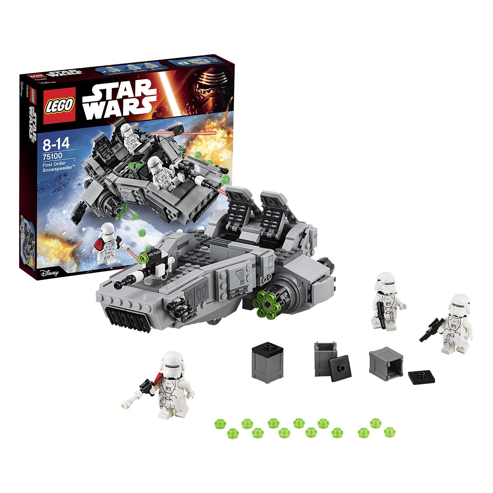 LEGO Star Wars 75100: Снежный спидер Первого ОрденаПластмассовые конструкторы<br>LEGO Star Wars (ЛЕГО Звездные Войны) 75100: Снежный спидер Первого Ордена – мощная боевая машина пехоты Первого Ордена, достойная того, чтобы пополнить коллекцию фанатов саги «Звездные войны»! Спидер предназначен для планетарных военных операций на заснеженных территориях, оснащен мощными репульсорами, поднимающими машину на несколько метров над поверхностью земли, тремя скорострельными пушками и большим отсеком-хранилищем, вынесенным в переднюю часть аппарата. Модель спидера выполнена с традиционной для ЛЕГО высокой точностью воспроизведения деталей и элементов дизайна транспортных средств.<br><br>Комплектация: 444 детали, 3 минифигурки: 2 снежных пехотинца и офицер пехоты Первого Порядка<br> <br>Дополнительная информация:<br>-Серия: Звездные войны<br>-Размер в упаковке: 5,9х28,2х26,2 см<br>-Вес в упаковке: 560 г<br>-Количество деталей: 444 шт.<br>-Материалы: пластик<br><br>С набором LEGO Star Wars (ЛЕГО Звездные Войны) 75100: Снежный спидер Первого Ордена теперь и ты сможешь разыгрывать эпические сцены из фильма «Звёздные Войны: Пробуждение Силы»!<br><br>LEGO Star Wars (ЛЕГО Звездные Войны) 75100: Снежный спидер Первого Ордена можно купить в нашем магазине.<br><br>Ширина мм: 284<br>Глубина мм: 263<br>Высота мм: 63<br>Вес г: 606<br>Возраст от месяцев: 72<br>Возраст до месяцев: 144<br>Пол: Мужской<br>Возраст: Детский<br>SKU: 4047422