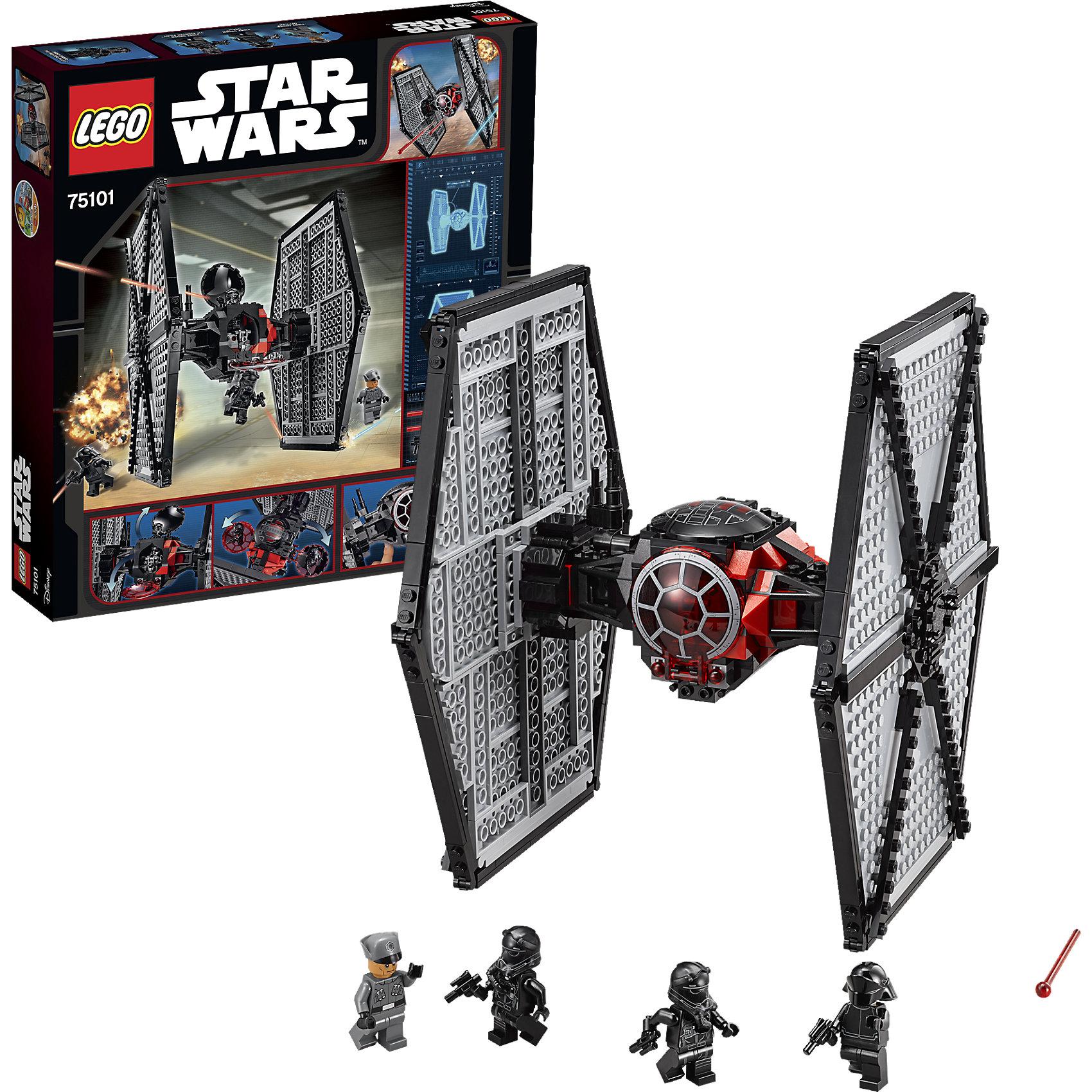 LEGO Star Wars 75101: Истребитель особых войск Первого ОрденаИгрушки<br>LEGO Star Wars (ЛЕГО Звездные Войны) 75101: Истребитель особых войск Первого Ордена – это легендарный корабль-перехватчик, олицетворяющий разрушительную мощь темной стороны! Усовершенствованная и обновленная модификация истребителя имперских войск оснащена сдвоенным ионным двигателем, использующим энергию света звёзд, двумя мощными скорострельными пушками и вращающейся антенной для выслеживания вражеских кораблей. Внутри цилиндрической кабины с двумя люками помещается 2 пилота межгалактических войск Первого Ордена.<br><br>Комплектация: 517 деталей, 4 минифигурки: 2 пилота истребителя Первого Ордена, офицер Первого Ордена и команда Первого Ордена<br><br>Дополнительная информация:<br>-Серия: Звездные войны<br>-Размер в упаковке: 7,1x35,5x38 см<br>-Вес в упаковке: 900 г<br>-Количество деталей: 517 шт.<br>-Материалы: пластик<br><br>Эта замечательная модель  истребителя позволит тебе воссоздать лучшие моменты фильма «Звёздные Войны: Пробуждение Силы»!<br><br>LEGO Star Wars (ЛЕГО Звездные Войны) 75101: Истребитель особых войск Первого Ордена можно купить в нашем магазине.<br><br>Ширина мм: 377<br>Глубина мм: 355<br>Высота мм: 73<br>Вес г: 876<br>Возраст от месяцев: 96<br>Возраст до месяцев: 144<br>Пол: Мужской<br>Возраст: Детский<br>SKU: 4047423