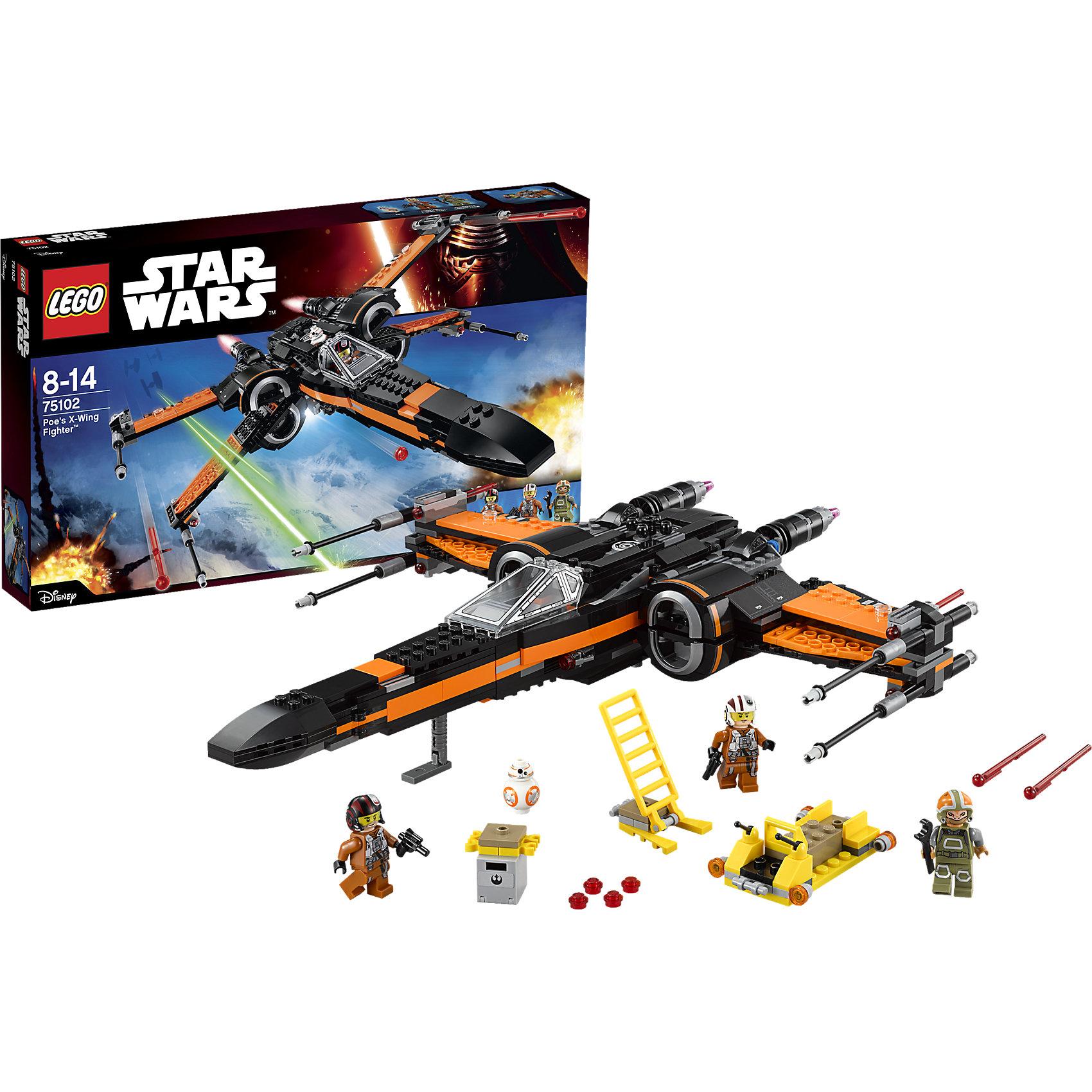 LEGO Star Wars 75102: Истребитель ПоLEGO Star Wars (ЛЕГО Звездные Войны) 75102: Истребитель По обладает огромной разрушительной силой и невероятной маневренностью, он оснащен: 6 различными пушками, выдвижным механизмом посадки, раскрывающимися крыльями, открывающейся кабиной, где можно разместить минифигурку и дроида-астромеханика BB-8. Кроме того, к межгалактическому звездолету прилагается устройство для зарядки пушек, оружейная стойка, дополнительные ракеты и боеприпасы, а также кресло пилота для минифигурки.<br><br>Комплектация: 717 деталей, 3 минифигурки: По Дэмерон, наземная команда Повстанцев, пилот истребителя Повстанцев, дроид-астромеханик BB-8<br><br>Дополнительная информация:<br>-Серия: Звездные войны<br>-Размер в упаковке: 4,8х61х28,2 см<br>-Вес в упаковке: 1,2 кг<br>-Количество деталей: 717 шт.<br>-Материалы: пластик<br><br>Сразись с силами Первого Порядка вместе с героем По Дэмероном, отражай атаки вражеских кораблей, участвуй в захватывающих приключениях Звездных войн!<br><br>LEGO Star Wars (ЛЕГО Звездные Войны) 75102: Истребитель По можно купить в нашем магазине.<br><br>Ширина мм: 482<br>Глубина мм: 278<br>Высота мм: 69<br>Вес г: 1058<br>Возраст от месяцев: 84<br>Возраст до месяцев: 144<br>Пол: Мужской<br>Возраст: Детский<br>SKU: 4047425