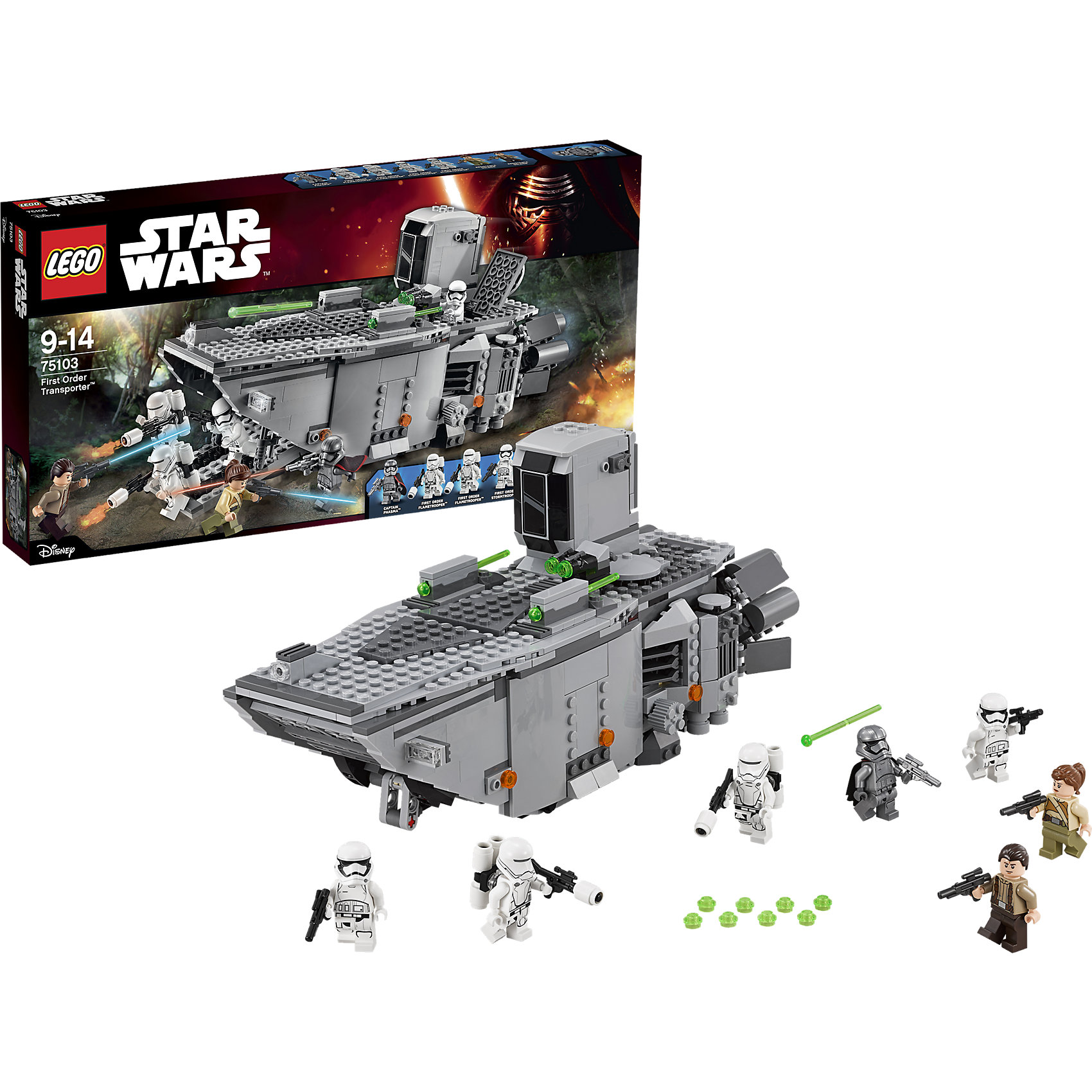 LEGO Star Wars 75103: Транспорт Первого ОрденаLEGO Star Wars (ЛЕГО Звездные Войны) 75103: Транспорт Первого Ордена – олицетворение страшной смертоносной силы войск Первого Порядка. Корабль оснащен тяжелыми орудиями и отличается множеством крутых деталей: сдвоенными пружинными пушками, двойной стреляющей пушкой, люком, в котором можно разместить минифигурку, кабиной пилотов с возможностью разместить 4 минифигурки в грузовом отсеке, большими двигателями в задней части и спрятанными прозрачными колесами, что создает ощущение парения над землей. Верхняя часть корабля снимается, чтобы можно было легко добраться до внутренних элементов. <br><br>Комплектация: 792 детали, 7 минифигурок: 2 солдата Сопротивления, 2 пехотинца Первого Порядка, 2 штурмовика Первого Порядка, Капитан Фазма<br><br>Дополнительная информация:<br>-Серия: Звездные войны<br>-Размер в упаковке: 5,9х54х28,2 см<br>-Вес в упаковке: 1,2 кг<br>-Количество деталей: 792 шт.<br>-Материалы: пластик<br><br>Разыгрывай эпические битвы с участием транспортного корабля Первого Ордена и сокруши армию вражеских захватчиков!<br><br>LEGO Star Wars (ЛЕГО Звездные Войны) 75103: Транспорт Первого Ордена можно купить в нашем магазине.<br><br>Ширина мм: 541<br>Глубина мм: 278<br>Высота мм: 67<br>Вес г: 1152<br>Возраст от месяцев: 84<br>Возраст до месяцев: 144<br>Пол: Мужской<br>Возраст: Детский<br>SKU: 4047426