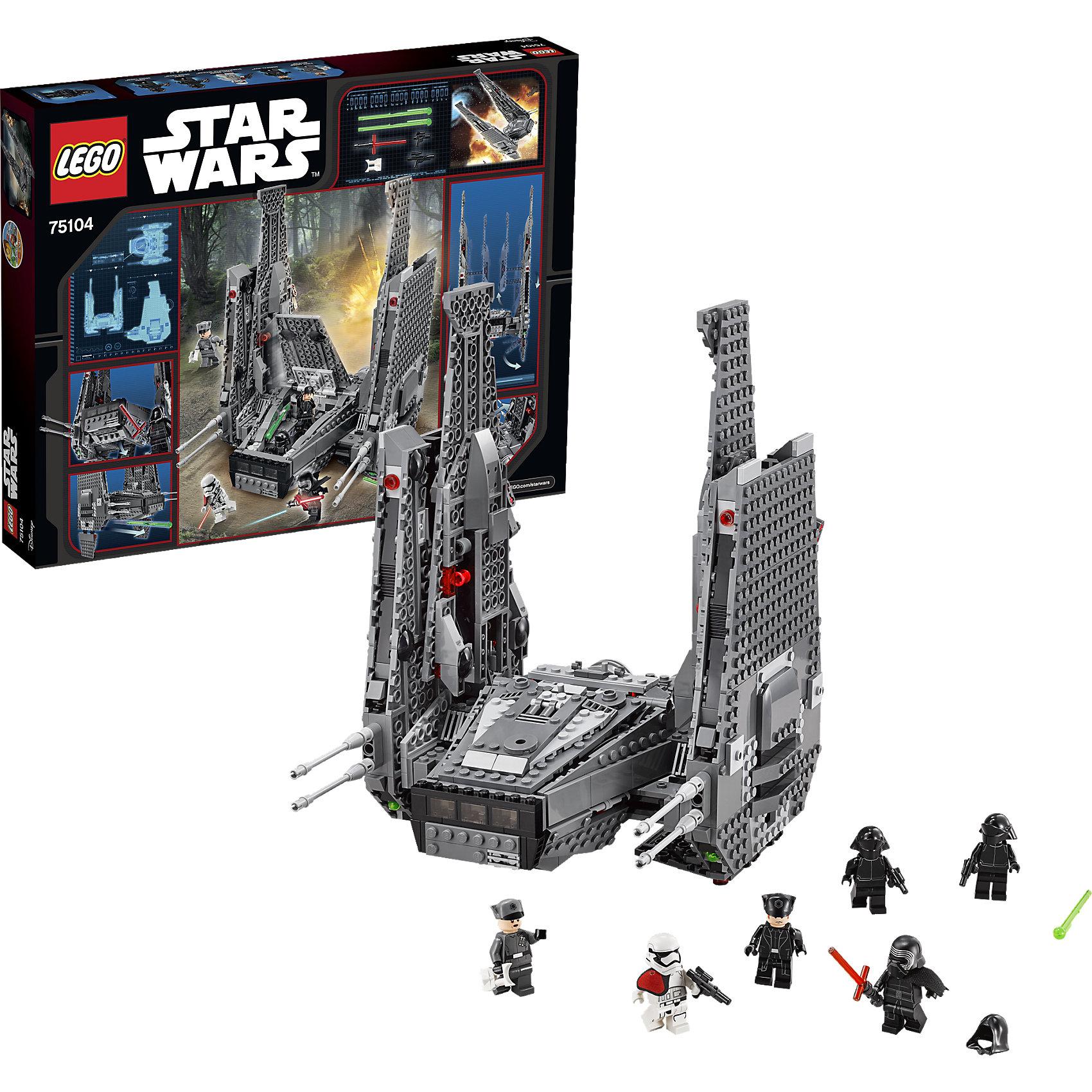LEGO Star Wars 75104: Командный шаттл Кайло РенаПластмассовые конструкторы<br>LEGO Star Wars (ЛЕГО Звездные Войны) 75104: Командный шаттл Кайло Рена – это фантастический звездный корабль с тщательно продуманными деталями, который имеет невероятное количество характеристик, включающих в себя открывающуюся переднюю часть, нижний и задний отсеки-хранилища, пружинные пушки и отсоединяемые оружейные стойки. А когда будешь готов к новым поворотам боя, активируй функцию выдвижения крыльев! <br><br>Комплектация: 1004 детали, 6 минифигурок: Кайло Рен, генерал Хакс, команда Первого Ордена из 2-х человек, офицер штурмовиков Первого Ордена<br><br>Дополнительная информация:<br>-Серия: Звездные войны<br>-Размер в упаковке: 7,1х48х38 см<br>-Вес в упаковке: 1,7 кг<br>-Количество деталей: 1004 шт.<br>-Материалы: пластик<br><br>Пришло время сокрушить врага в бою на личном Командном шаттле Кайло Рена из набора LEGO Star Wars (ЛЕГО Звездные Войны) 75104: Командный шаттл Кайло Рена!<br><br>LEGO Star Wars (ЛЕГО Звездные Войны) 75104: Командный шаттл Кайло Рена можно купить в нашем магазине.<br><br>Ширина мм: 483<br>Глубина мм: 375<br>Высота мм: 65<br>Вес г: 1700<br>Возраст от месяцев: 108<br>Возраст до месяцев: 168<br>Пол: Мужской<br>Возраст: Детский<br>SKU: 4047427
