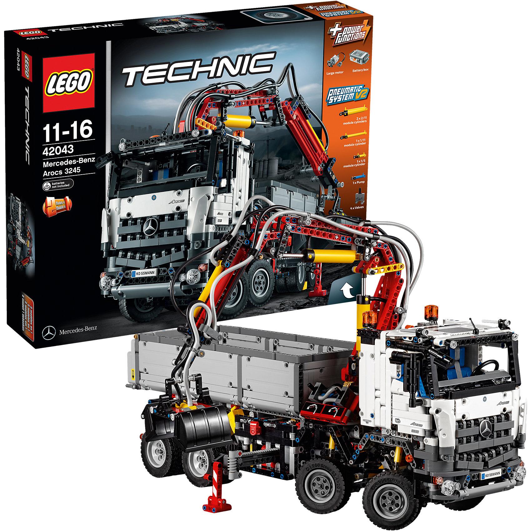 LEGO Technic 42043: Mercedes-Benz Arocs 3245Характеристики:<br><br>• Предназначение: набор для конструирования, сюжетно-ролевые игры<br>• Пол: для мальчиков<br>• Материал: пластик<br>• Цвет: черный, серый, белый, желтый, бордовый<br>• Серия LEGO: Technic<br>• Размер упаковки (Д*Ш*В): 58,2*12,4*48 см<br>• Вес: 4 кг 490 г<br>• Количество деталей: 2793 шт.<br>• Наличие двигающихся, регулируемых, управляемых элементов<br>• Наличие мотора, пневматическая система<br>• Комплектация: детали для конструирования 2-х вариантов грузового транспорта<br>• Батарейки: 6 шт. типа АА (в комплекте не предусмотрены)<br><br>LEGO Technic 42043: Mercedes-Benz Arocs 3245 – набор от всемирно известного производителя конструкторов для детей всех возрастных категорий. LEGO 42043: Mercedes-Benz Arocs 3245 является базовым набором повышенной сложности серии Technic. Элементы конструктора позволяют сконструировать 2 варианта грузового транспорта: модель Mercedes-Benz Arocs или строительный грузовик Mercedes-Benz. Разнообразие элементов позволят воссоздавать юному конструктору все реалистичные элементы и функции грузового транспорта: крутящиеся колеса, управляемый и регулируемый стрела, поворот кузова, выносные опоры и др. Кроме того, внутренняя часть кабины водителя выполнена с высокой степенью детализации реального прототипа. В комплекте предусмотрена яркая инструкция, которая научит вашего ребенка действовать по образцу. <br>Игры с конструкторами LEGO развивают усидчивость, внимательность, мелкую моторику рук, способствуют формированию конструкторского мышления. С набором LEGO Technic 42043: Mercedes-Benz Arocs 3245 ваш ребенок сможет придумывать целые сюжетные истории, развивая тем самым воображение и обогащая свой словарный запас. <br><br>LEGO Technic 42043: Mercedes-Benz Arocs 3245 можно купить в нашем интернет-магазине.<br><br>Ширина мм: 584<br>Глубина мм: 472<br>Высота мм: 132<br>Вес г: 4504<br>Возраст от месяцев: 132<br>Возраст до месяцев: 192<br>Пол: Мужской<br>Возраст: Детский<br>SKU: 