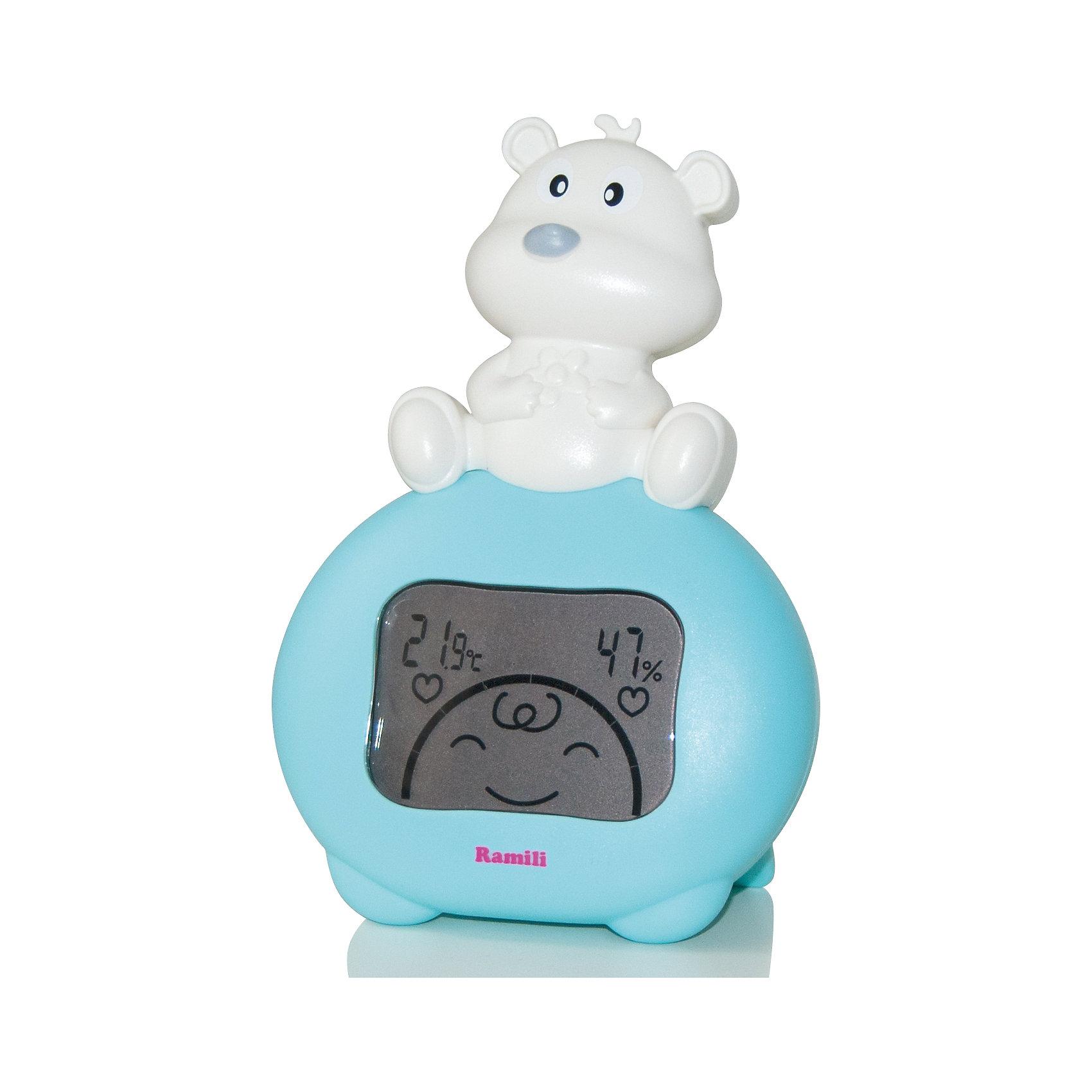 Термометр и гигрометр для детской комнаты Baby ET1003 RamiliТермометры<br>Устройство отображает температуру и относительную влажность воздуха в детской комнате. Имеет встроенный емкий  аккумулятор, который подзаряжается при подключении к розетке. Выполнен в форме забавного мишки, поэтому прекрасно впишется в интерьер любой детской комнаты и понравится малышам. <br><br>Дополнительная информация:<br><br>- Диапазон температур от 0С до +50С. <br>- Диапазон влажности от 20% до 90%. <br>- LCD дисплей. <br><br>Термометр и гигрометр для детской комнаты Baby ET1003 Ramili  можно купить в нашем магазине.<br><br>Ширина мм: 120<br>Глубина мм: 60<br>Высота мм: 110<br>Вес г: 200<br>Возраст от месяцев: 0<br>Возраст до месяцев: 36<br>Пол: Унисекс<br>Возраст: Детский<br>SKU: 4047530