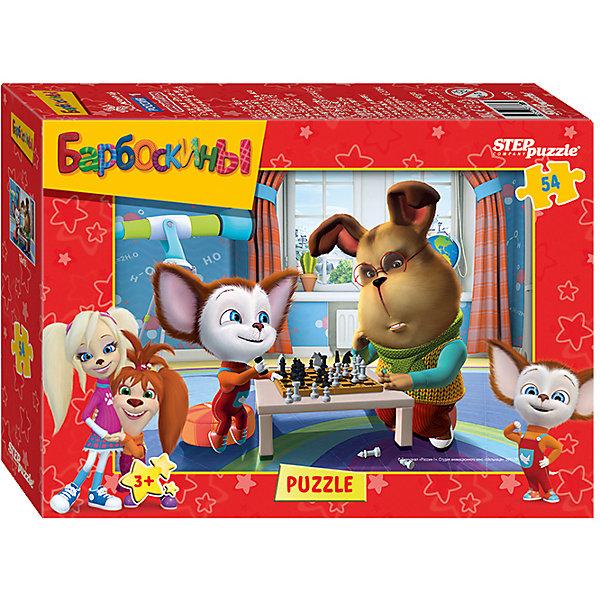 Пазл Барбоскины, 54 детали, Step puzzleПопулярные игрушки<br>Пазл Барбоскины, 54 детали, Step puzzle (Степ пазл) – это развивающая игра-головоломка для детей.<br>Из деталей пазла Барбоскины от российского бренда Step Puzzle ваш ребенок соберет красочную картинку с изображением любимых героев мультфильма Барбоскины. Яркие, насыщенные цвета обязательно порадуют малыша и привлекут его внимание. Сборка пазлов - это увлекательное и полезное занятие. Оно способствует развитию у ребенка образного и логического мышления, наблюдательности, мелкой моторики и координации движений руки.<br><br>Дополнительная информация:<br><br>- Количество элементов: 54<br>- Размер готовой картинки: 18х13 см.<br>- Материалы: картон, бумага<br>- Размер упаковки: 7х3х9 см.<br>- Вес: 300 гр.<br><br>Пазл Барбоскины, 54 детали, Step puzzle (Степ пазл) можно купить в нашем интернет-магазине.<br>Ширина мм: 7; Глубина мм: 3; Высота мм: 9; Вес г: 300; Возраст от месяцев: 36; Возраст до месяцев: 72; Пол: Унисекс; Возраст: Детский; Количество деталей: 54; SKU: 4048190;