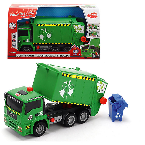 Мусоровоз с контейнером, AiePump, 31см, DickieМашинки<br>Грузовик- мусоровоз займет достойное место в коллекции автомобилей любого мальчишки! Машина прекрасно детализирована, имеет множество реалистичных деталей, очень похожа на настоящий грузовик. Грузовик имеет подвижные колеса с широкими рельефными протекторами, оснащен подъемным кузовом с пневматическим механизмом, который приводится в действие нажатием на специальный рычаг, расположенный на корпусе игрушки. Игрушка выполнена из прочных экологичных материалов, в производстве которых использованы нетоксичные, безопасные красители.   <br><br>Дополнительная информация:<br><br>- Материал: пластик, металл.<br>- Размер: 31 см.<br>- Подвижные колеса.<br>- Кузов поднимается и опускается с помощью пневматического механизма Air Pump.<br><br>Мусоровоз с контейнером, AiePump, 31см, Dickie (Дикки), можно купить в нашем магазине.<br>Ширина мм: 355; Глубина мм: 198; Высота мм: 134; Вес г: 662; Возраст от месяцев: 36; Возраст до месяцев: 84; Пол: Мужской; Возраст: Детский; SKU: 4048275;