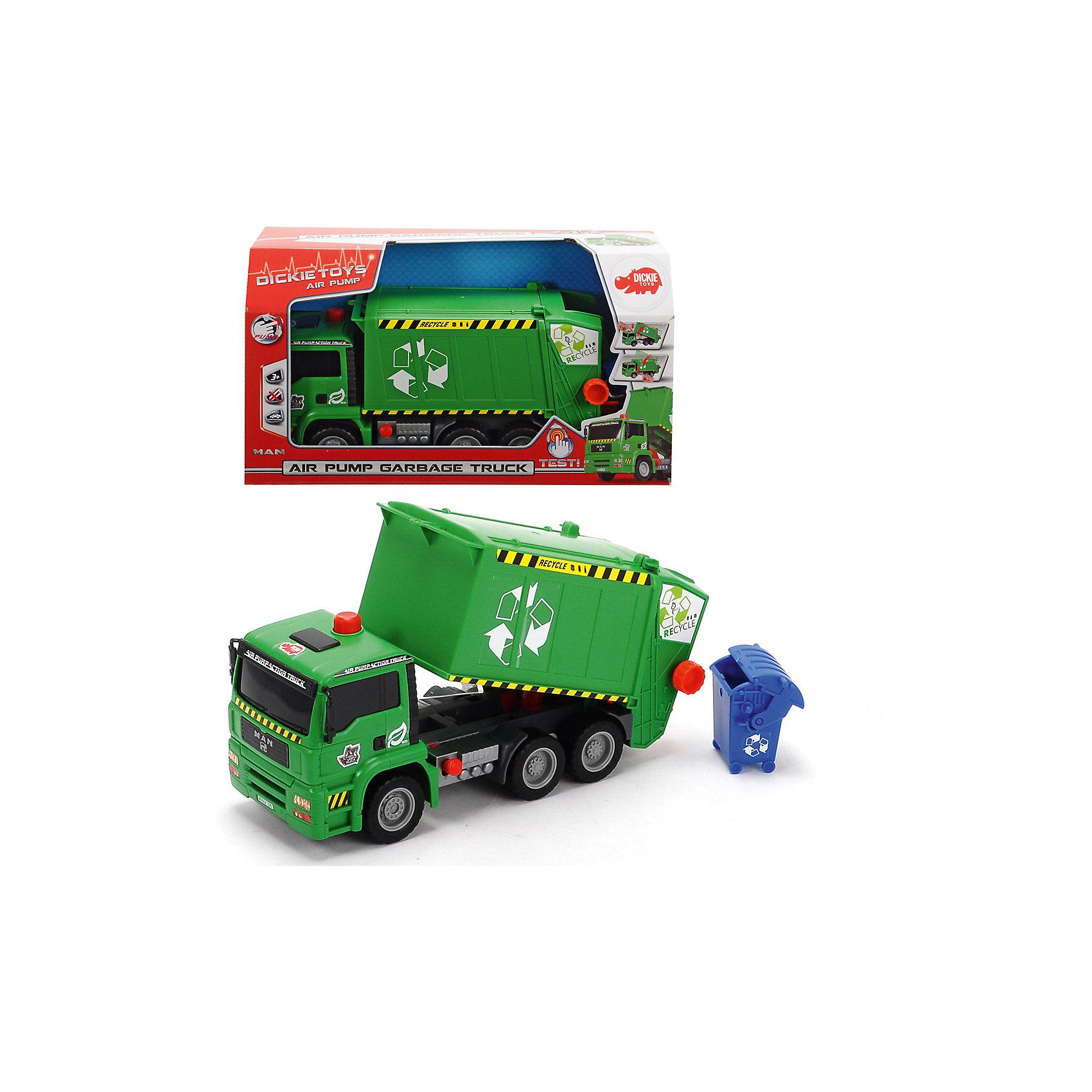 Мусоровоз с контейнером, AiePump, 31см, DickieМашинки<br>Грузовик- мусоровоз займет достойное место в коллекции автомобилей любого мальчишки! Машина прекрасно детализирована, имеет множество реалистичных деталей, очень похожа на настоящий грузовик. Грузовик имеет подвижные колеса с широкими рельефными протекторами, оснащен подъемным кузовом с пневматическим механизмом, который приводится в действие нажатием на специальный рычаг, расположенный на корпусе игрушки. Игрушка выполнена из прочных экологичных материалов, в производстве которых использованы нетоксичные, безопасные красители.   <br><br>Дополнительная информация:<br><br>- Материал: пластик, металл.<br>- Размер: 31 см.<br>- Подвижные колеса.<br>- Кузов поднимается и опускается с помощью пневматического механизма Air Pump.<br><br>Мусоровоз с контейнером, AiePump, 31см, Dickie (Дикки), можно купить в нашем магазине.<br><br>Ширина мм: 348<br>Глубина мм: 135<br>Высота мм: 200<br>Вес г: 600<br>Возраст от месяцев: 36<br>Возраст до месяцев: 84<br>Пол: Мужской<br>Возраст: Детский<br>SKU: 4048275