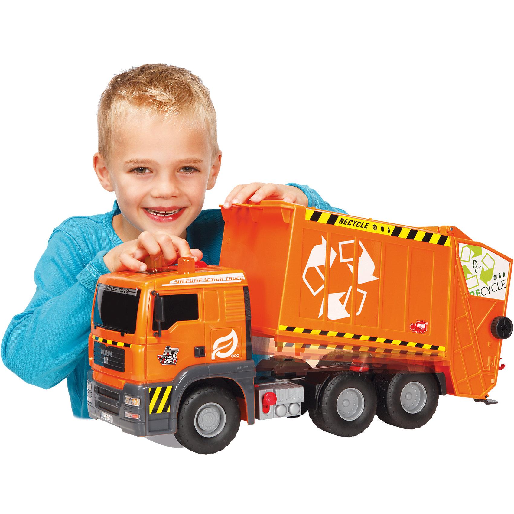 Мусоровоз функциональный, 55 см, DickieГрузовик- мусоровоз займет достойное место в коллекции автомобилей любого мальчишки! Машина прекрасно детализирована, имеет множество реалистичных деталей, очень похожа на настоящий грузовик. Мусоровоз имеет подвижные колеса с широкими рельефными протекторами, оснащен подъемным кузовом с пневматическим механизмом, который приводится в действие нажатием на специальный рычаг, расположенный на корпусе игрушки. Игрушка выполнена из прочных экологичных материалов, в производстве которых использованы нетоксичные, безопасные красители.   <br><br>Дополнительная информация:<br><br>- Материал: пластик, металл.<br>- Размер: 31 см.<br>- Подвижные колеса.<br>- Кузов поднимается и опускается с помощью пневматического механизма Air Pump.<br>- Комплектация: машинка, контейнер.<br><br>Мусоровоз многофункциональный, 55 см, Dickie (Дикки), можно купить в нашем магазине.<br><br>Ширина мм: 600<br>Глубина мм: 281<br>Высота мм: 205<br>Вес г: 2127<br>Возраст от месяцев: 36<br>Возраст до месяцев: 84<br>Пол: Мужской<br>Возраст: Детский<br>SKU: 4048277