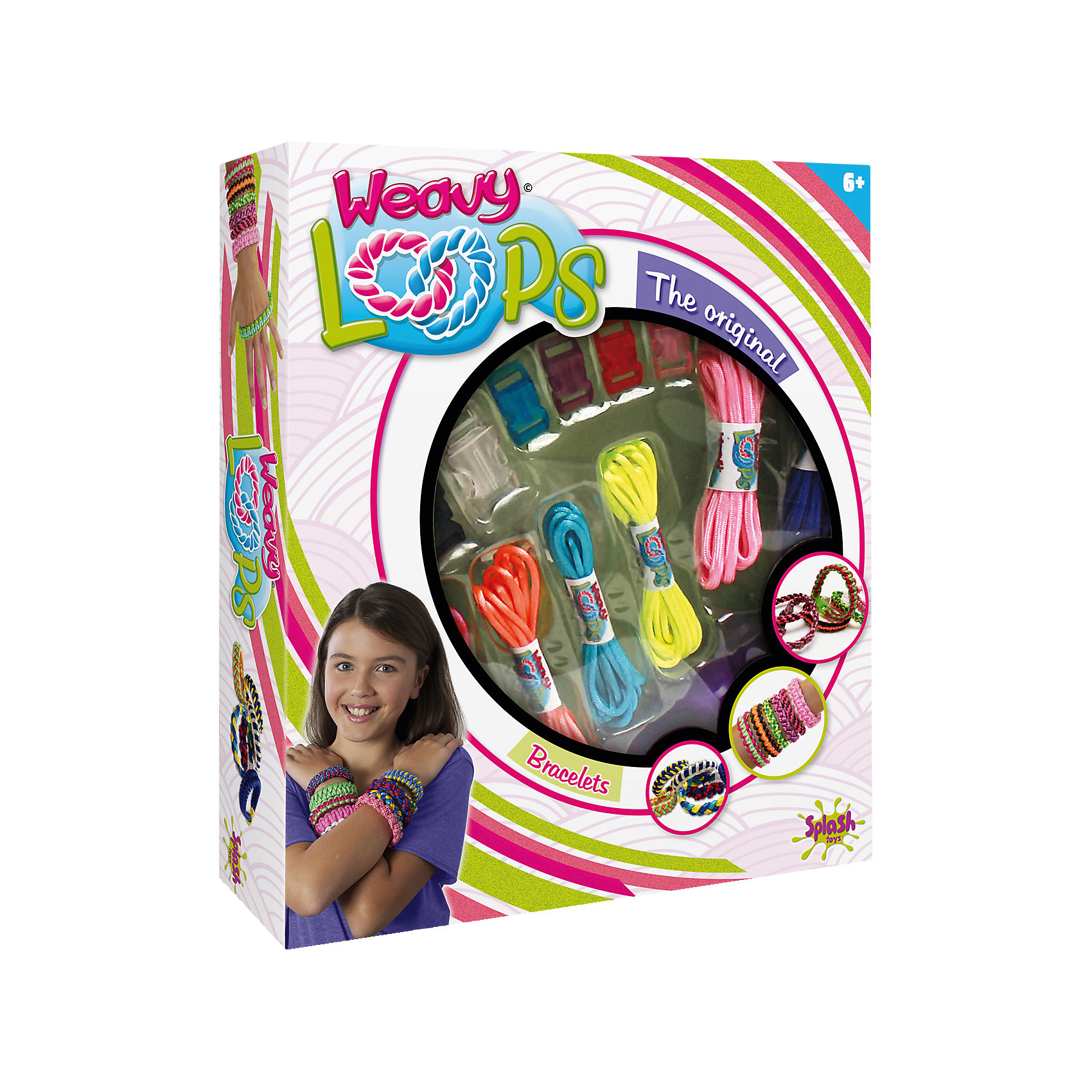 Набор для плетения браслетов, Weavy LoopsНаборы для создания украшений<br>Набор для плетения браслетов, Weavy Loops - увлекательный набор для творчества, который позволит юной рукодельнице создавать стильные модные украшения для себя и своих друзей. В комплекте Вы найдете все необходимые для изготовления ярких и оригинальных браслетов:<br>цветные шнурки разных цветов, застежки и инструмент для плетения браслетов. Несложная, доступная даже новичкам техника плетения позволят Вам быстро освоить новый вид творчества и порадоваться первым успехам. Комплект оформлен в яркую подарочную коробочку.<br>Развивает творческие и художественные способности, фантазию, усидчивость, мелкую моторику.<br><br> Дополнительная информация:<br><br>- В комплекте: 6 шнуров разных цветов, 6 застежек, 1 инструмент для плетения браслетов.<br>- Материал: пластик, текстиль.<br>- Размер упаковки: 25,9 x 21,9 x 5,1 см. <br>- Вес: 0,22 кг.<br><br>Набор для плетения браслетов, Weavy Loops, можно купить в нашем интернет-магазине.<br><br>Ширина мм: 266<br>Глубина мм: 220<br>Высота мм: 53<br>Вес г: 218<br>Возраст от месяцев: 72<br>Возраст до месяцев: 144<br>Пол: Женский<br>Возраст: Детский<br>SKU: 4050214