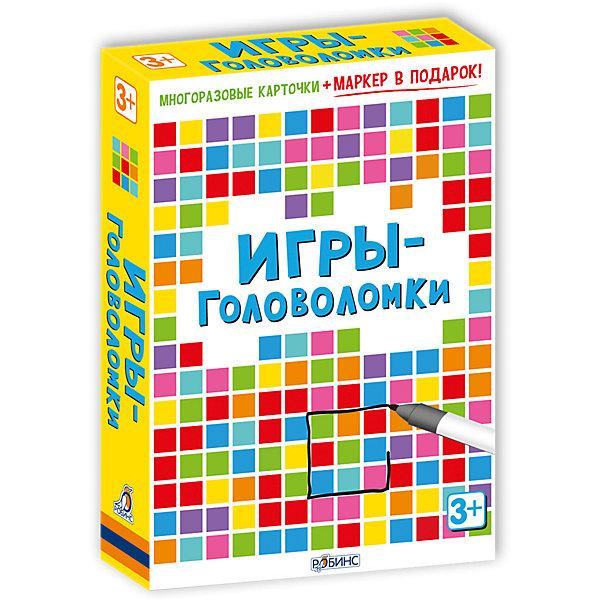 Карточки Игры-головоломкиОбучающие карточки<br>Карточки Игры-головоломки – набор игровых многоразовых карточек с фломастером, выпущенных по лицензии английского издательства Асборн.<br>Упакованный в небольшую коробку, набор Игры-головоломки состоит из маркера и игровых карточек со специальным покрытием, которое обладает стирающими свойствами, поэтому ребенок может рисовать и писать на них столько, сколько ему захочется. Оригинальные игры и задания-головоломки помогут развить воображение и логику! Юным эрудитам предстоит определить исчезнувшую картину, отыскать в буквенной таблице названия разных стран, проложить космический маршрут, разгадать загадки, пройти лабиринты, расшифровать секретное послание, собрать пазл, отыскать в толпе людей по описанию, найти ошибки художника, определить, что изменилось и выполнить другие упражнения. В наборе вы найдете многоразовые двусторонние карточки, специальный маркер для рисования и карточки с ответами к головоломкам. Карточки выполнены из плотного ламинированного картона, они не погнутся и не порвутся даже в руках самых активных интеллектуалов. «Игры-головоломки» удобно брать с собой в дорогу, чтобы ваш малыш не скучал, пока вы путешествуете! В серии также вышли: «50 увлекательных логических игр», «100 логических игр для путешествий», «Вопросы и ответы о животных».<br><br>Дополнительная информация:<br><br>- В коробке: 50 карточек, маркер<br>- Автор: С. Кхан<br>- Иллюстраторы: Лиззи Барбер, Н. Фигг, С. Баготт<br>- Серия: Возьми с собой в дорогу<br>- Издательство: Робинс<br>- Иллюстрации: цветные<br>- Материал: ламинированный картон<br>- Размер карточки:15,5х10 см.<br>- Размер коробки: 155 х 100 х 25 мм.<br>- Вес: 294 гр.<br><br>Карточки Игры-головоломки можно купить в нашем интернет-магазине.<br>Ширина мм: 155; Глубина мм: 100; Высота мм: 25; Вес г: 294; Возраст от месяцев: 36; Возраст до месяцев: 96; Пол: Унисекс; Возраст: Детский; SKU: 4050220;