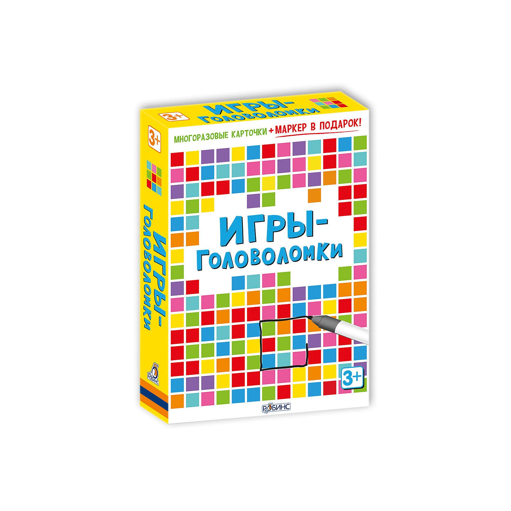 Карточки Игры-головоломкиОбучающие карточки<br>Карточки Игры-головоломки – набор игровых многоразовых карточек с фломастером, выпущенных по лицензии английского издательства Асборн.<br>Упакованный в небольшую коробку, набор Игры-головоломки состоит из маркера и игровых карточек со специальным покрытием, которое обладает стирающими свойствами, поэтому ребенок может рисовать и писать на них столько, сколько ему захочется. Оригинальные игры и задания-головоломки помогут развить воображение и логику! Юным эрудитам предстоит определить исчезнувшую картину, отыскать в буквенной таблице названия разных стран, проложить космический маршрут, разгадать загадки, пройти лабиринты, расшифровать секретное послание, собрать пазл, отыскать в толпе людей по описанию, найти ошибки художника, определить, что изменилось и выполнить другие упражнения. В наборе вы найдете многоразовые двусторонние карточки, специальный маркер для рисования и карточки с ответами к головоломкам. Карточки выполнены из плотного ламинированного картона, они не погнутся и не порвутся даже в руках самых активных интеллектуалов. «Игры-головоломки» удобно брать с собой в дорогу, чтобы ваш малыш не скучал, пока вы путешествуете! В серии также вышли: «50 увлекательных логических игр», «100 логических игр для путешествий», «Вопросы и ответы о животных».<br><br>Дополнительная информация:<br><br>- В коробке: 50 карточек, маркер<br>- Автор: С. Кхан<br>- Иллюстраторы: Лиззи Барбер, Н. Фигг, С. Баготт<br>- Серия: Возьми с собой в дорогу<br>- Издательство: Робинс<br>- Иллюстрации: цветные<br>- Материал: ламинированный картон<br>- Размер карточки:15,5х10 см.<br>- Размер коробки: 155 х 100 х 25 мм.<br>- Вес: 294 гр.<br><br>Карточки Игры-головоломки можно купить в нашем интернет-магазине.<br><br>Ширина мм: 155<br>Глубина мм: 100<br>Высота мм: 25<br>Вес г: 294<br>Возраст от месяцев: 36<br>Возраст до месяцев: 96<br>Пол: Унисекс<br>Возраст: Детский<br>SKU: 4050220